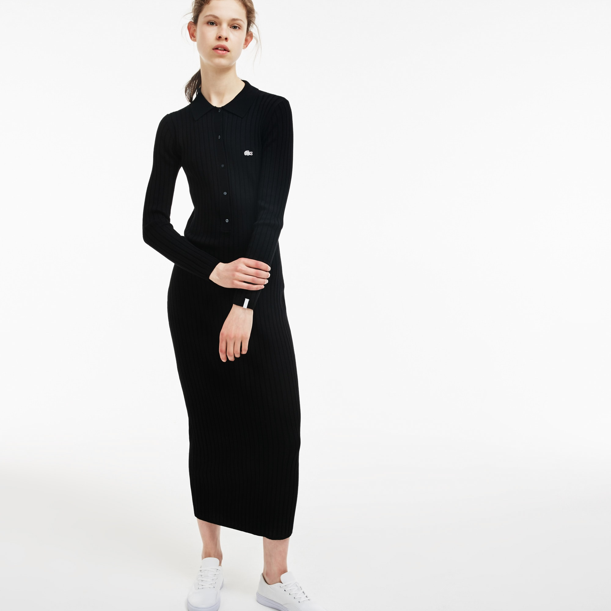 Women's  LIVE Polo Collar Long Ribbed Dress