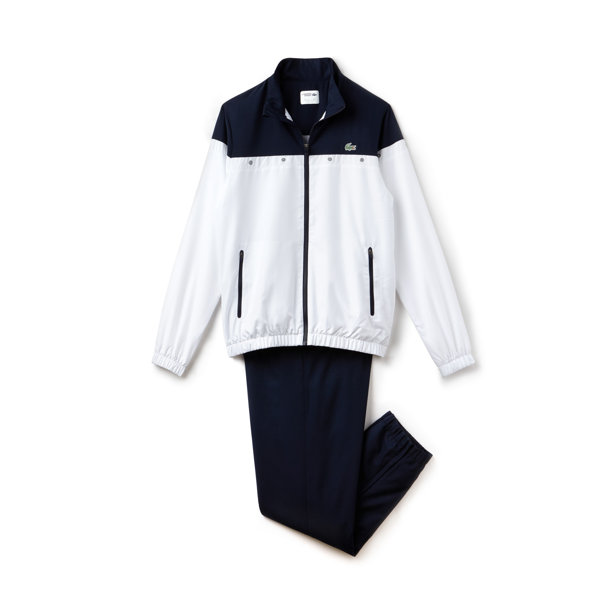 라코스테 스포츠 트랙 수트 Lacoste Mens SPORT Colorblock Tennis Tracksuit,white/navy blue