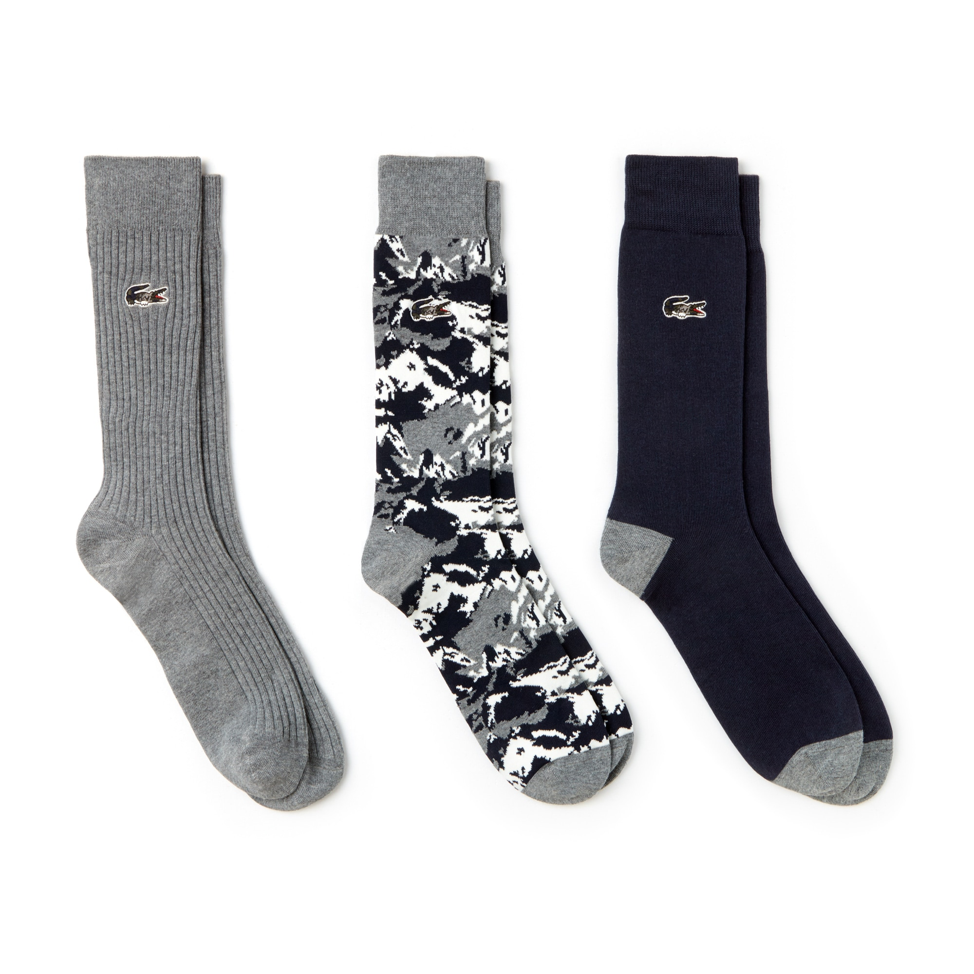 Men's Three-Pack Print And Solid Stretch Cotton Socks