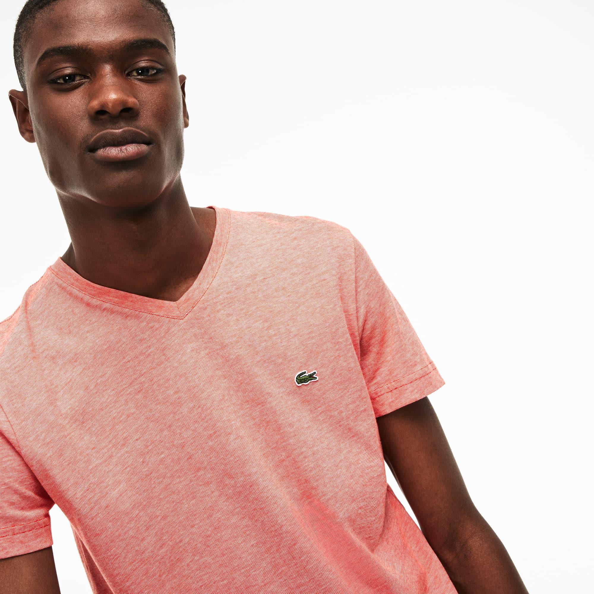 Men's V-neck Striped Cotton Jersey T-shirt