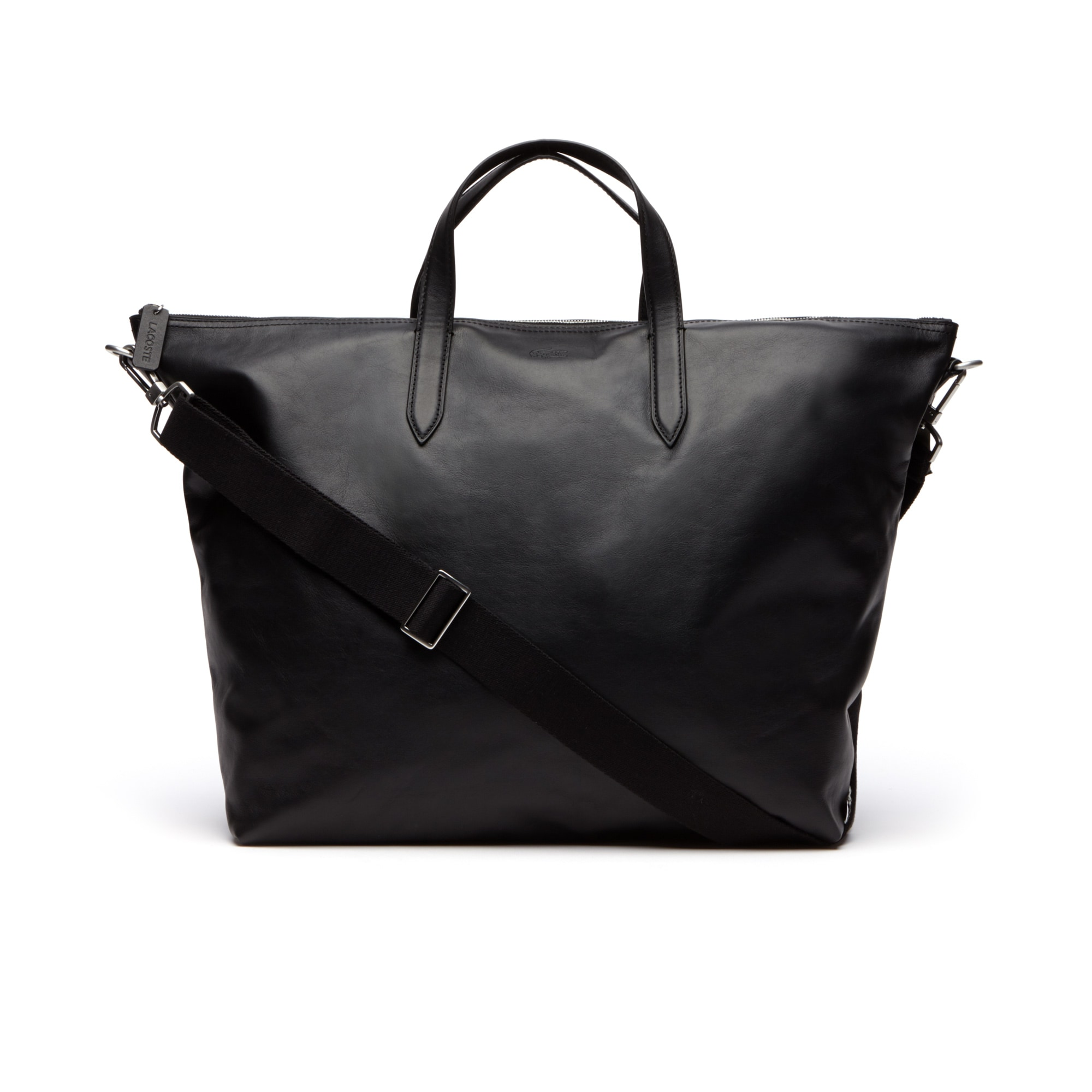 라코스테 토트백, 블랙 Lacoste Mens L.12.12 Limited Edition 85th Anniversary Leather Weekend Bag,blac