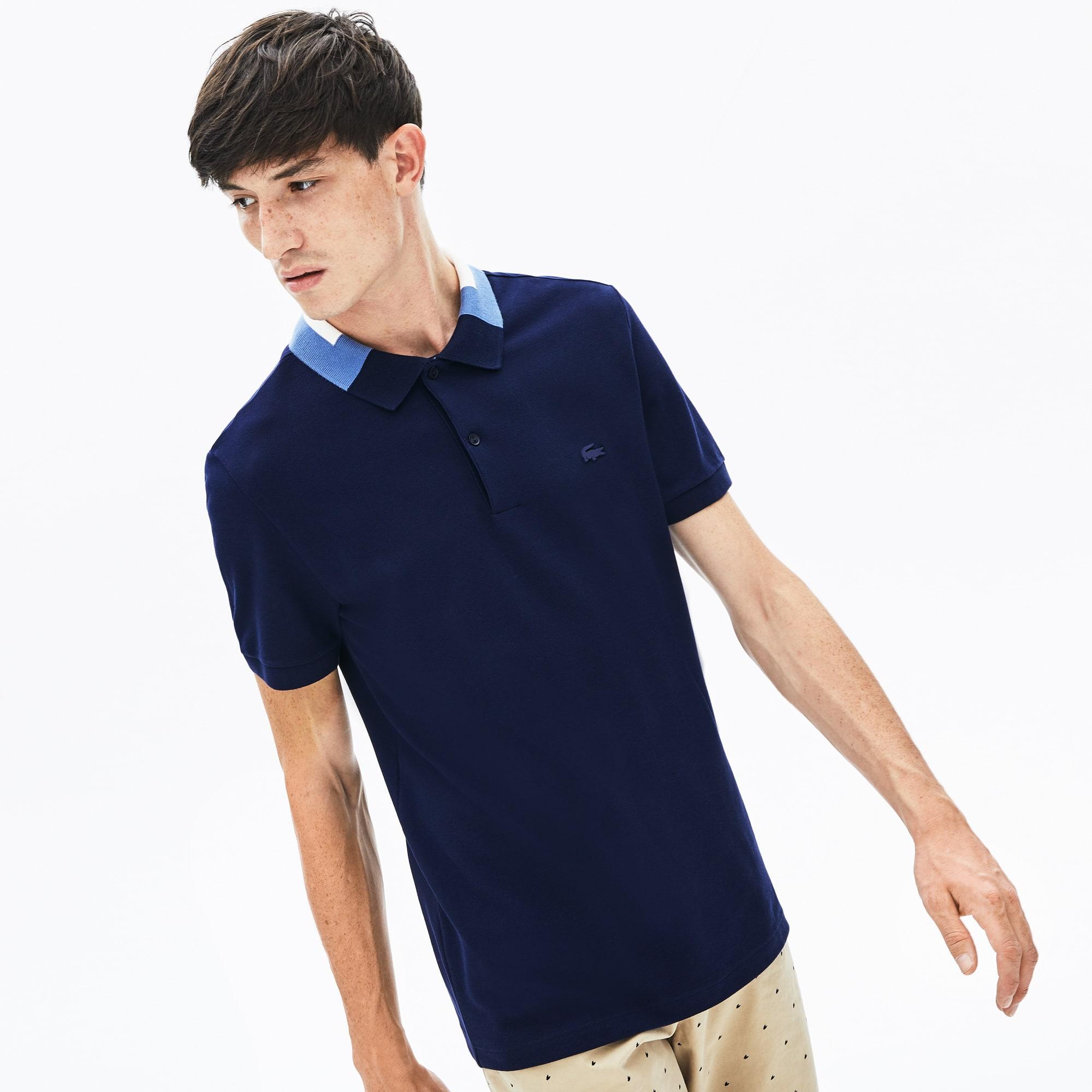 Lacoste Tops Men's Slim Fit Color-Block Collar Cotton Piqué Polo