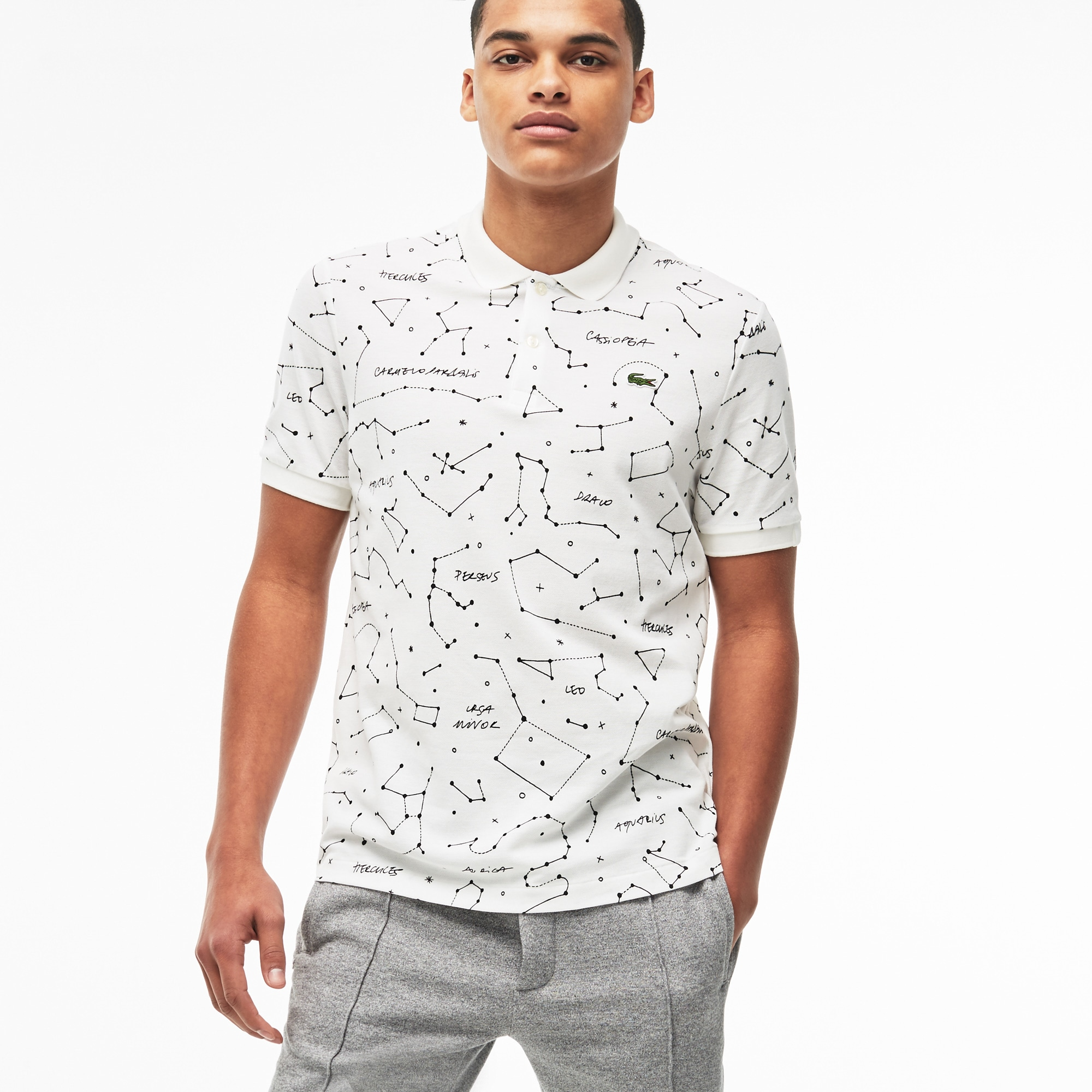 Men's  LIVE Regular Fit Constellation Print Mini Piqué Polo