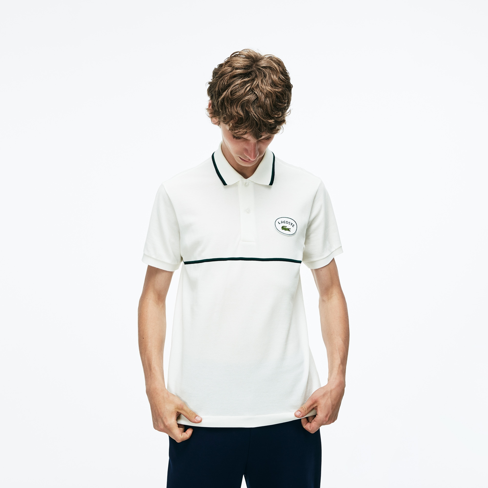 Men's Slim Fit Striped Accents Petit Piqué Polo