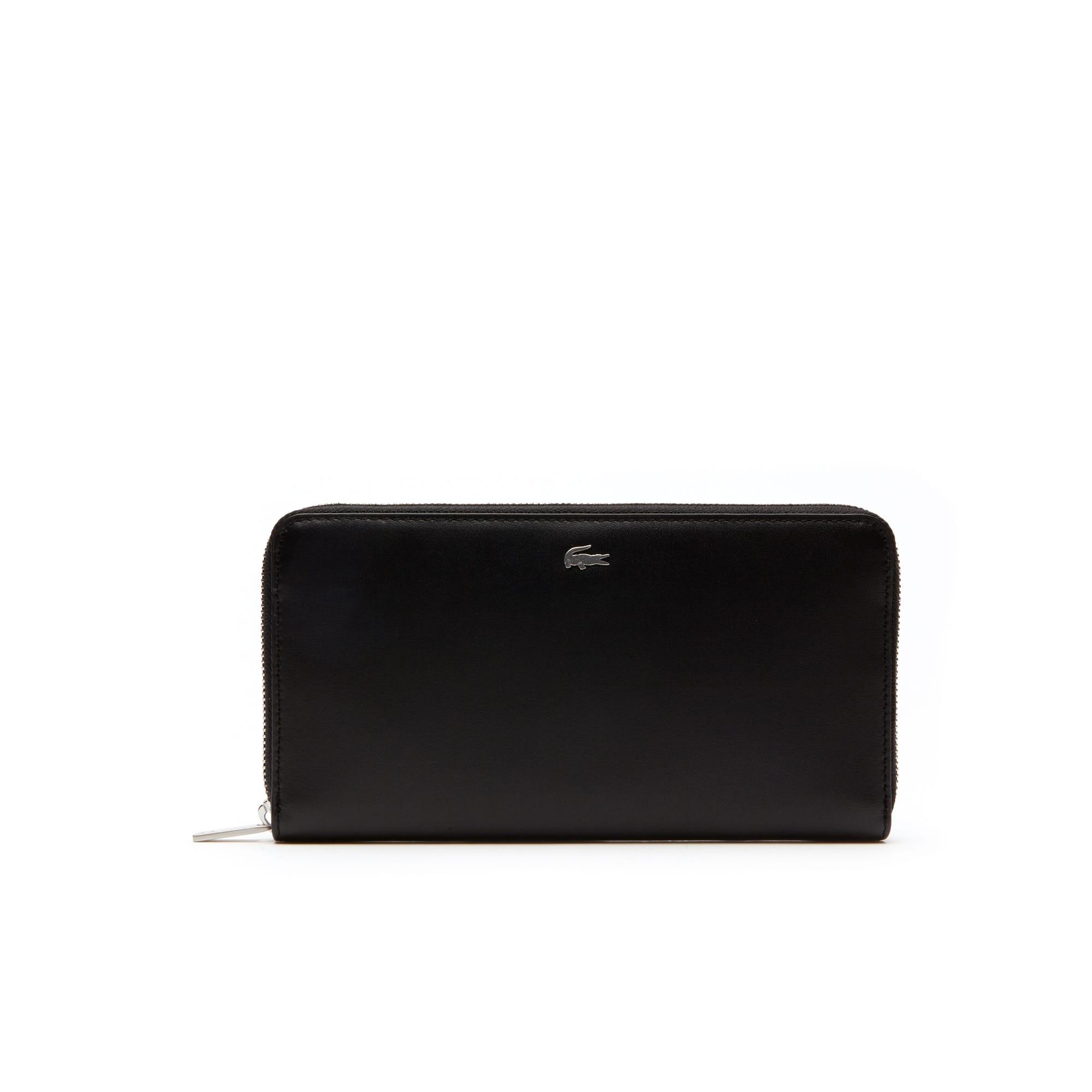 라코스테 장지갑 Lacoste Mens Fitzgerald Zip Colorblock Leather 6 Card Wallet,black breen
