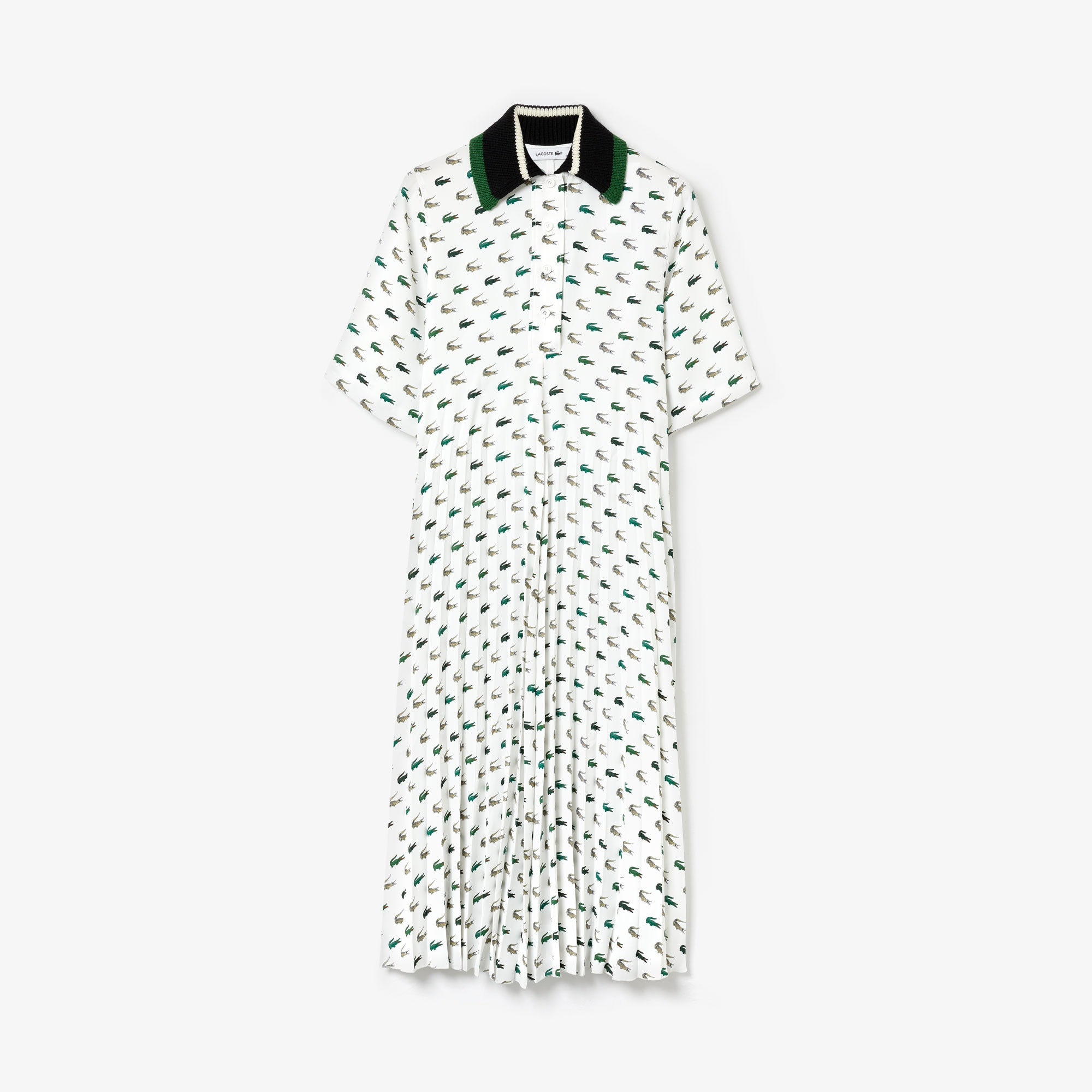 Women's Fashion Show Printed Polo Dress with Knitted Collar