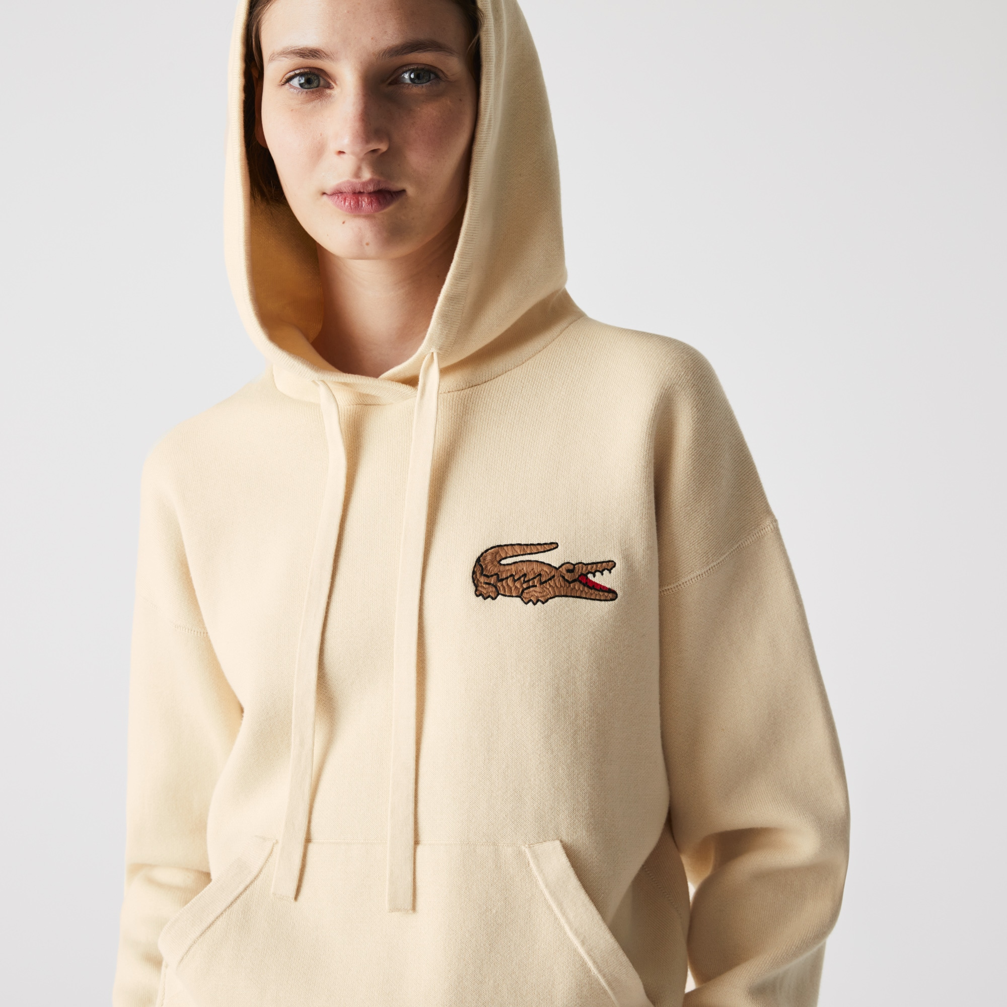 Lacoste Women's Relaxed Embroidered Croc Hooded Cotton Sweater