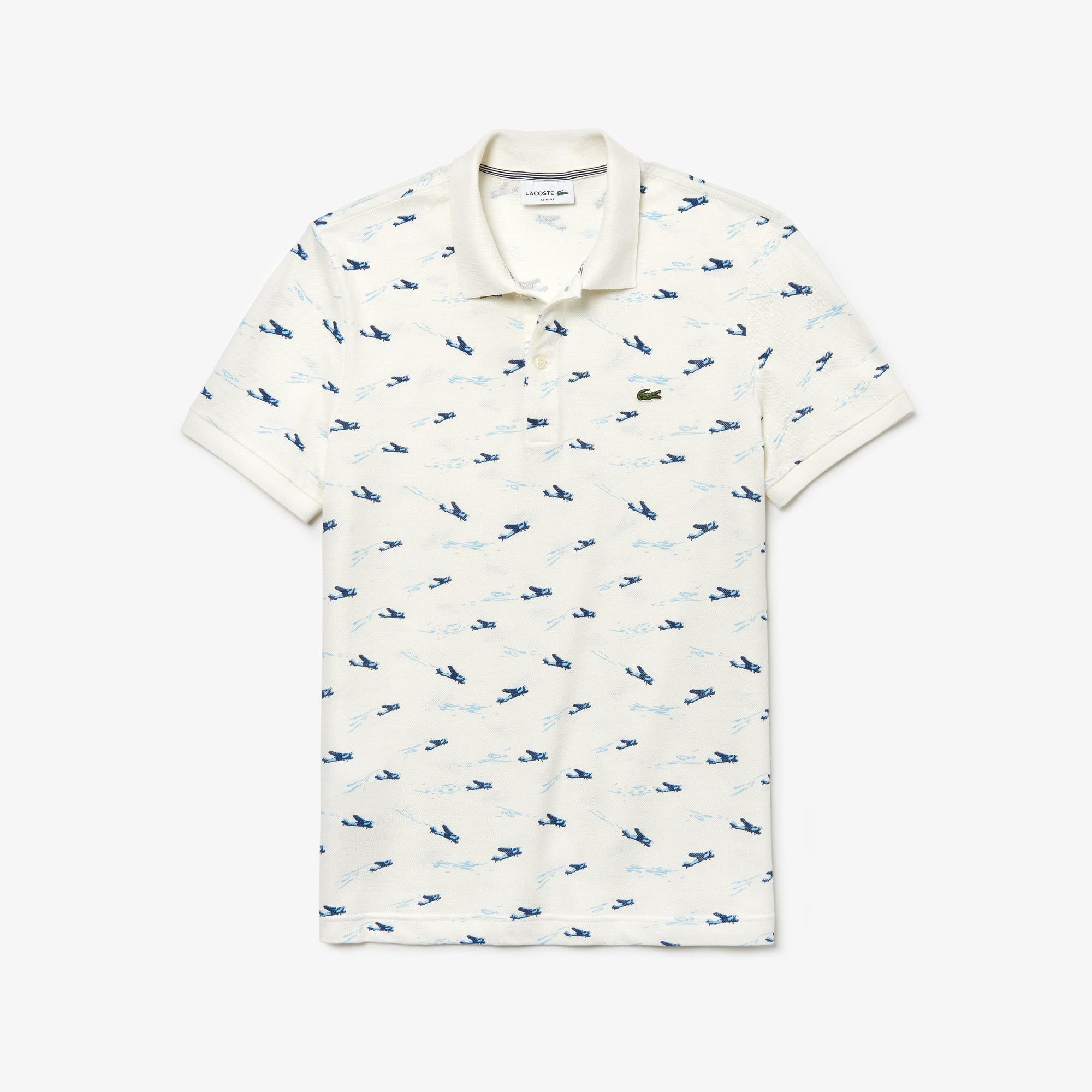 e7850981d4ef6 Men s Lacoste Slim Fit Airplane Print Cotton And Linen Piqué Polo Shirt