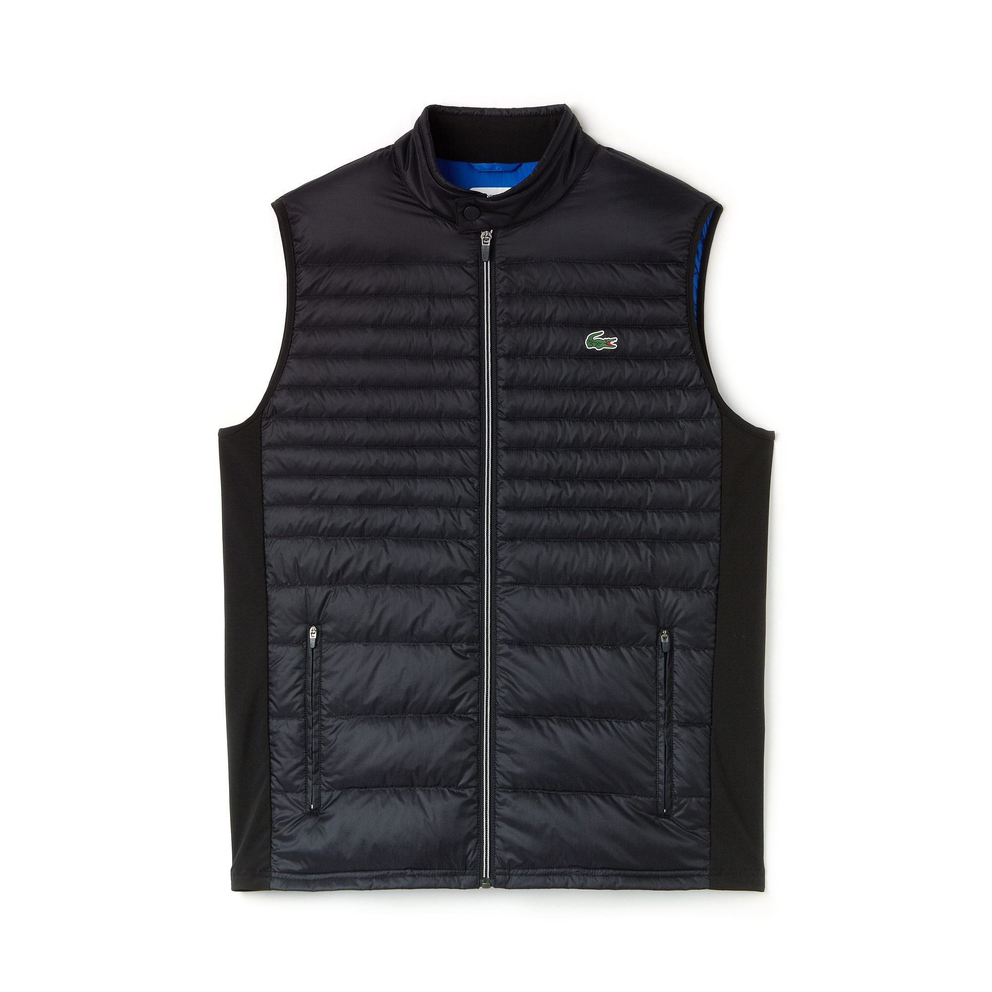 라코스테 스포츠 베스트 Lacoste Mens SPORT Water-Resistant Quilted Technical Golf Vest,BLACK/BLUE ROYAL