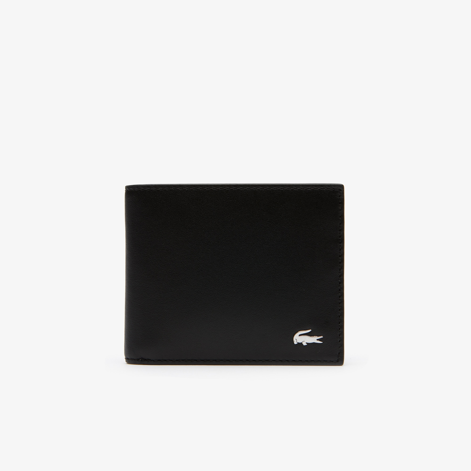 라코스테 Lacoste Mens Fitzgerald Colorblock Leather 6 Card Wallet,black gray henna