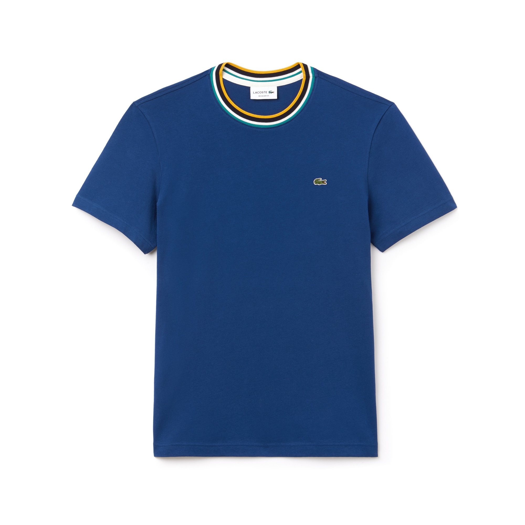 라코스테 Lacoste Mens Striped Ribbed Crew Neck Cotton Jersey T-shirt,navy blue