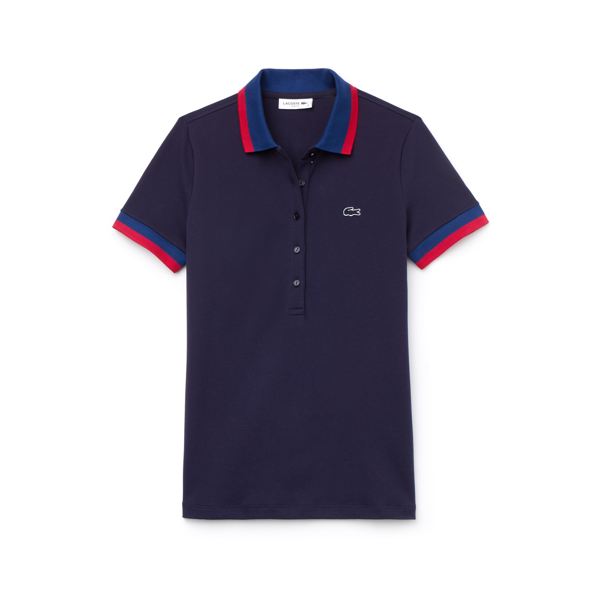 라코스테 Lacoste Womens Slim Fit Bicolor Finishes Stretch Mini Pique Polo,navy blue / navy blue / red