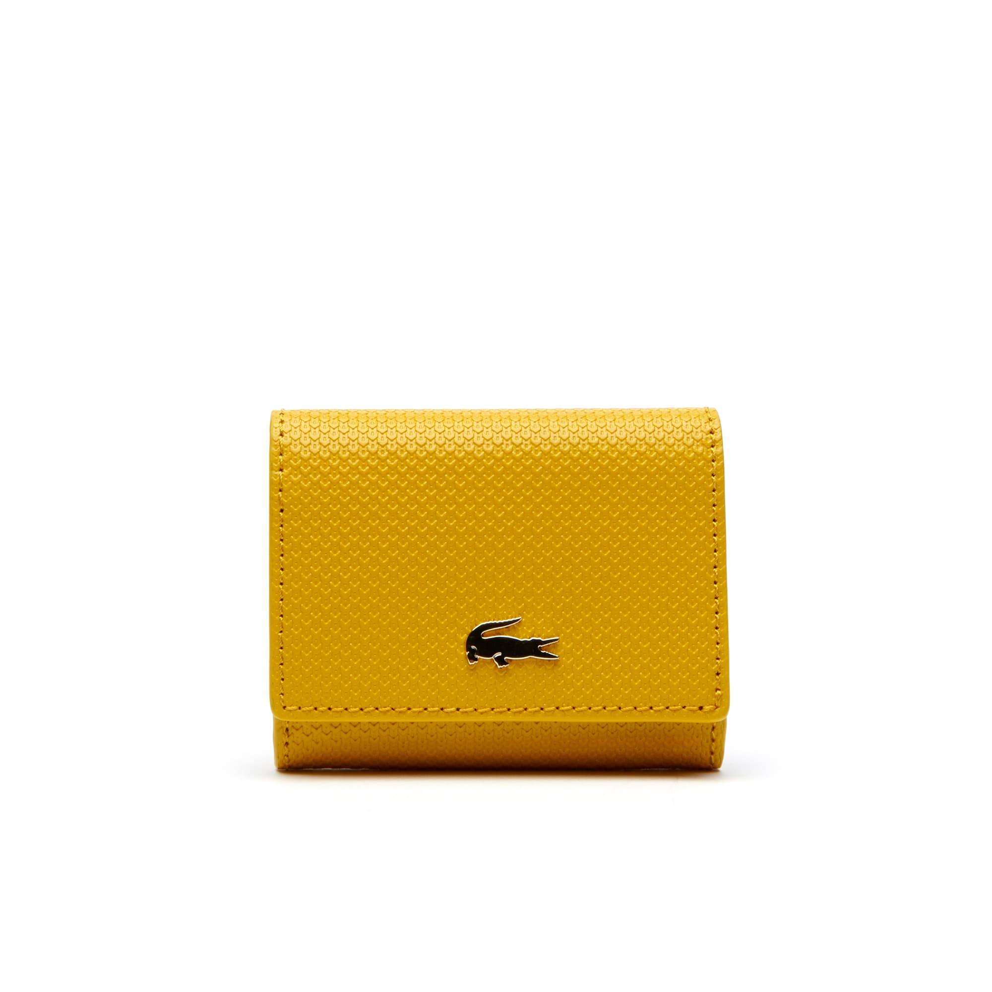 라코스테 Lacoste Womens Chantaco Bicolor Pique Leather 3 Card Wallet,mineral yellow