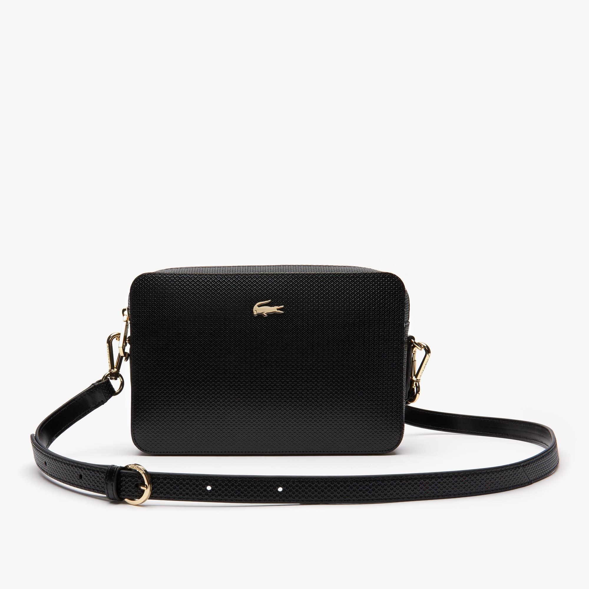 라코스테 Lacoste Womens Chantaco Pique Leather Square Shoulder Bag,black