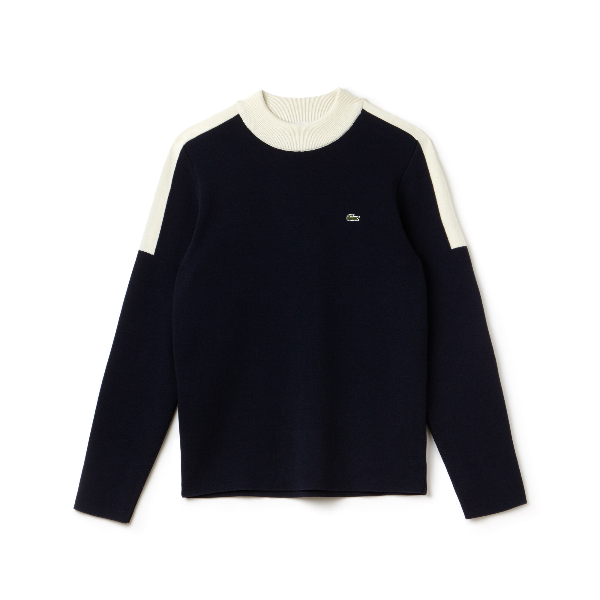 Men's Made in France Stand-Up Collar Colorblock Bands Sweater