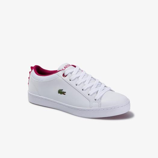 라코스테 아동 운동화 Lacoste Childrens Straightset Lace-up Synthetic and Textile Sneakers,WHITE/DARK PINK