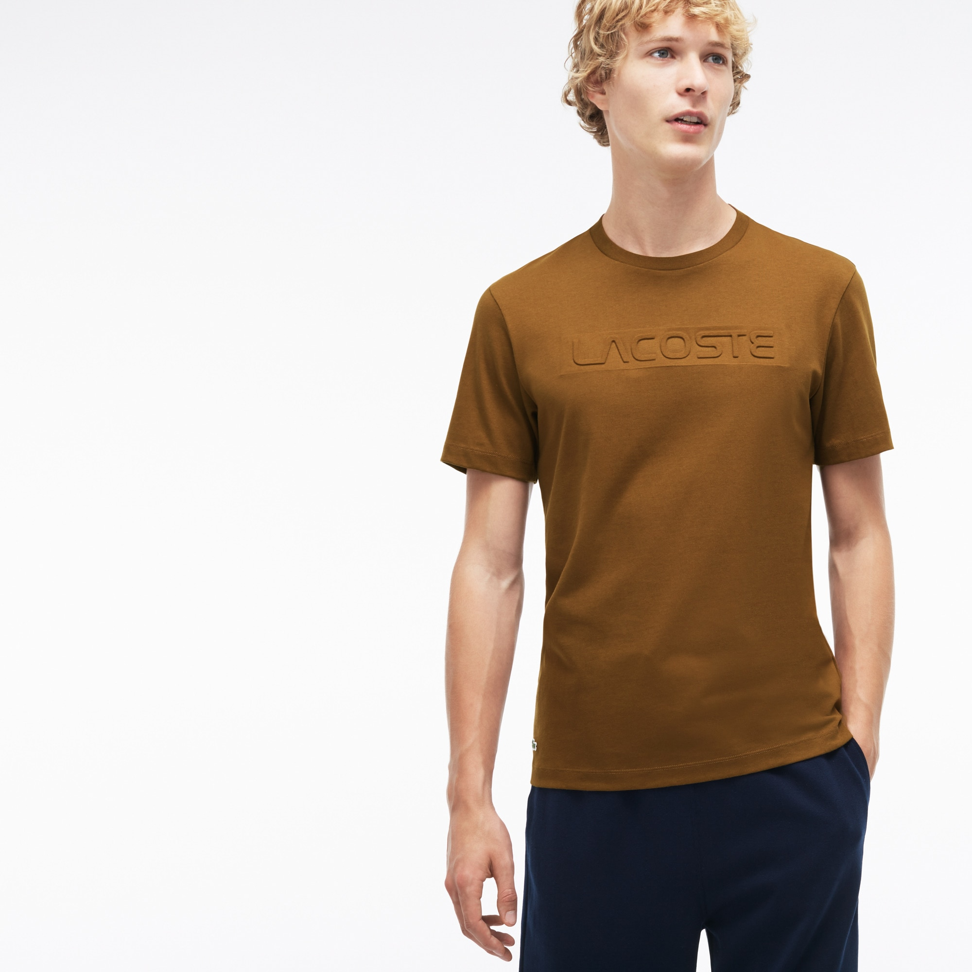 Men's Crew Neck LACOSTE Lettering Jersey T-shirt
