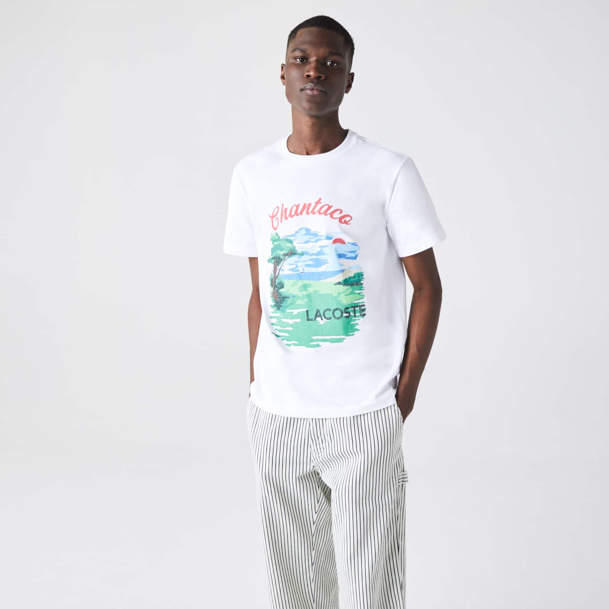 라코스테 Lacoste Men's Crew Neck Landscape Print Cotton T-shirt