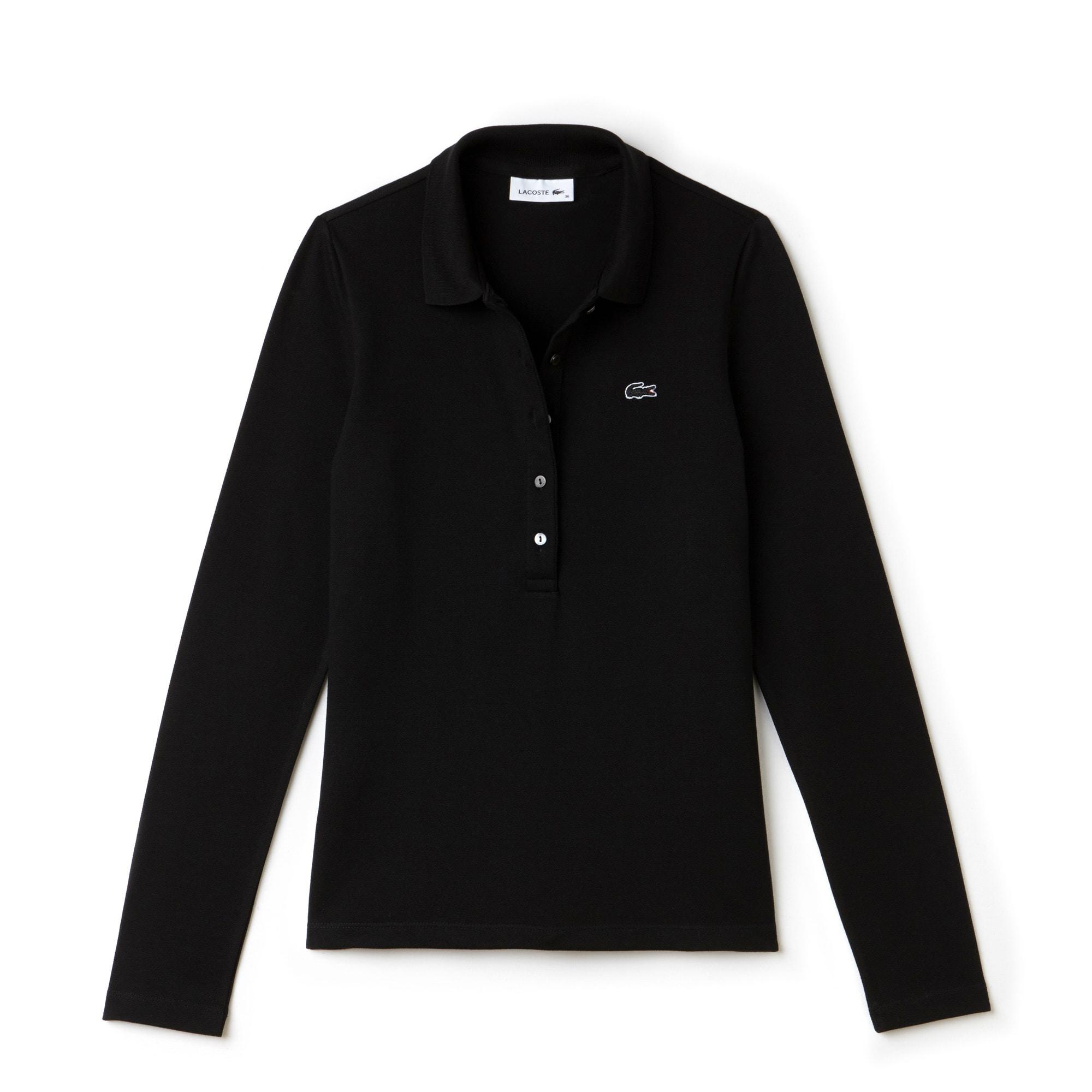 라코스테 긴팔 카라티 Lacoste Womens Slim Fit Stretch Mini Pique Polo Shirt,black