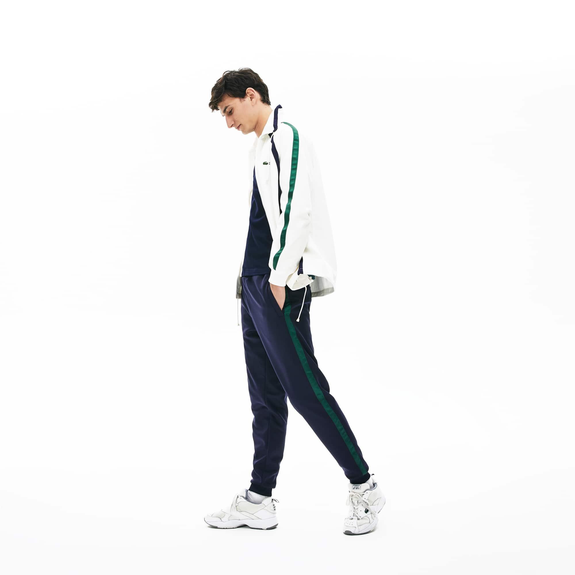 라코스테 컬러블록 트랙 팬츠 Lacoste Men's Colorblock Heritage Stripe Track Pants,Navy Blue / Green - M35