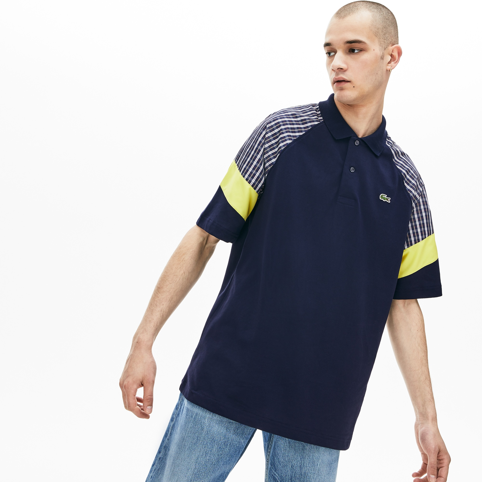 Men's LIVE Loose Fit Patchwork Petit Piqué Polo