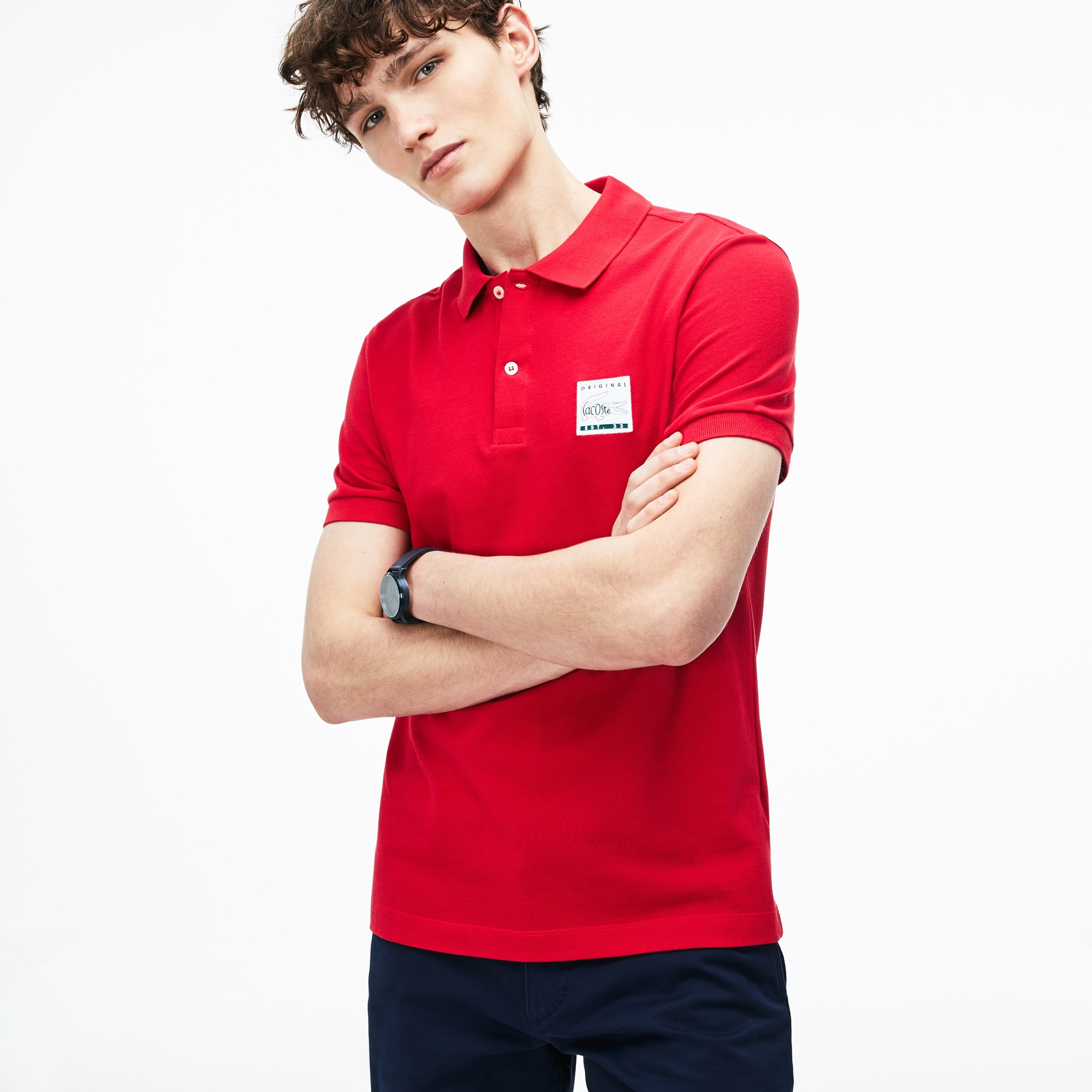 Men's Regular Fit Patch Petit Piqué Polo