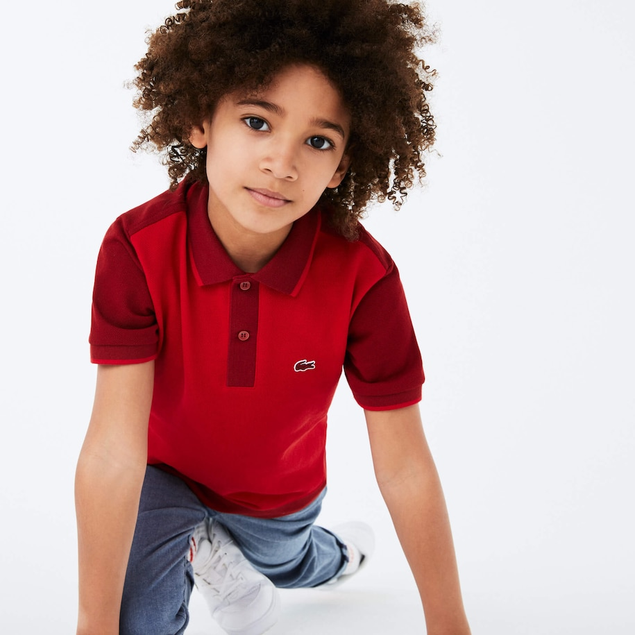 Boys' Two-Tone Cotton Piqué Polo