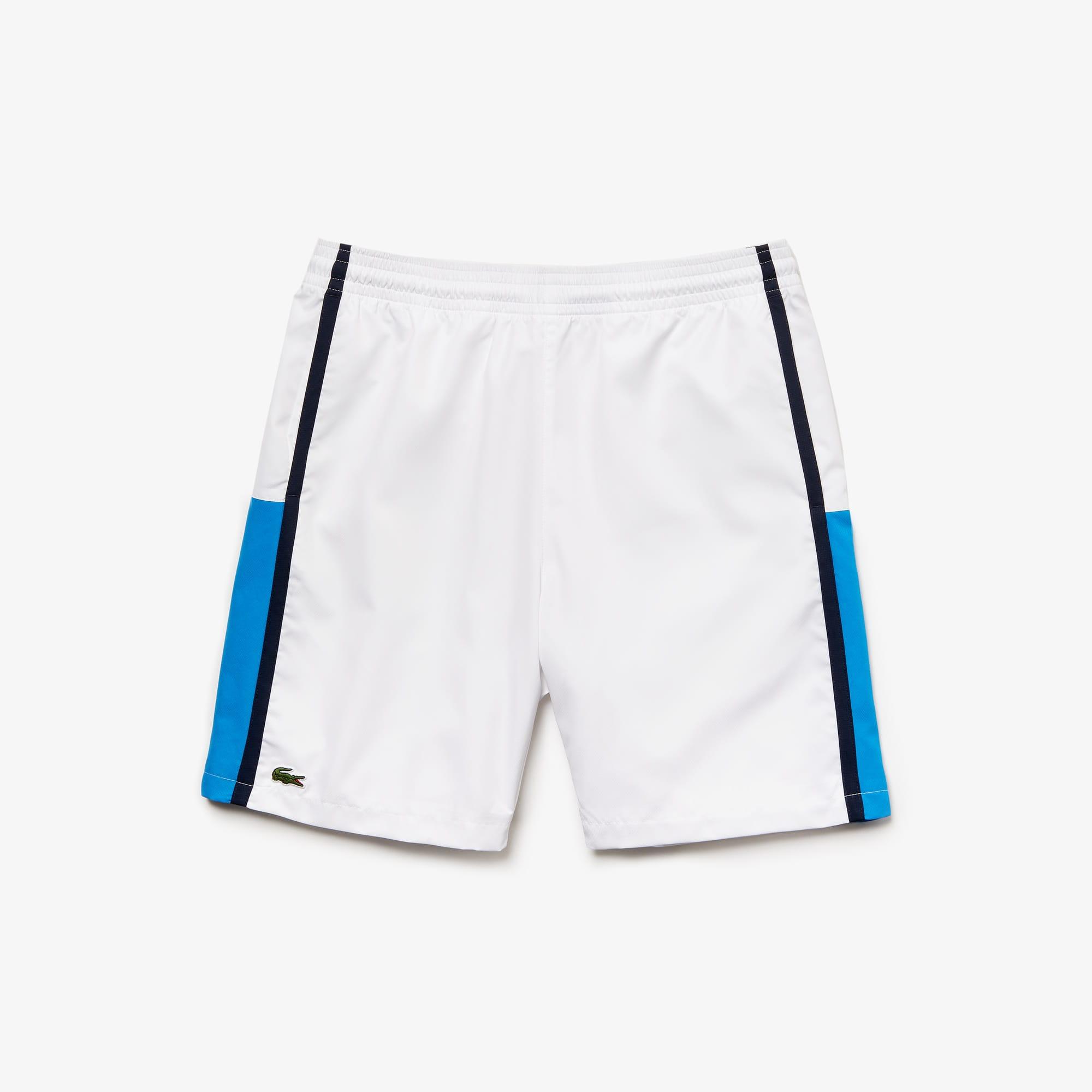 라코스테 Lacoste Mens SPORT Taffeta Tennis Shorts,white / blue / navy blue