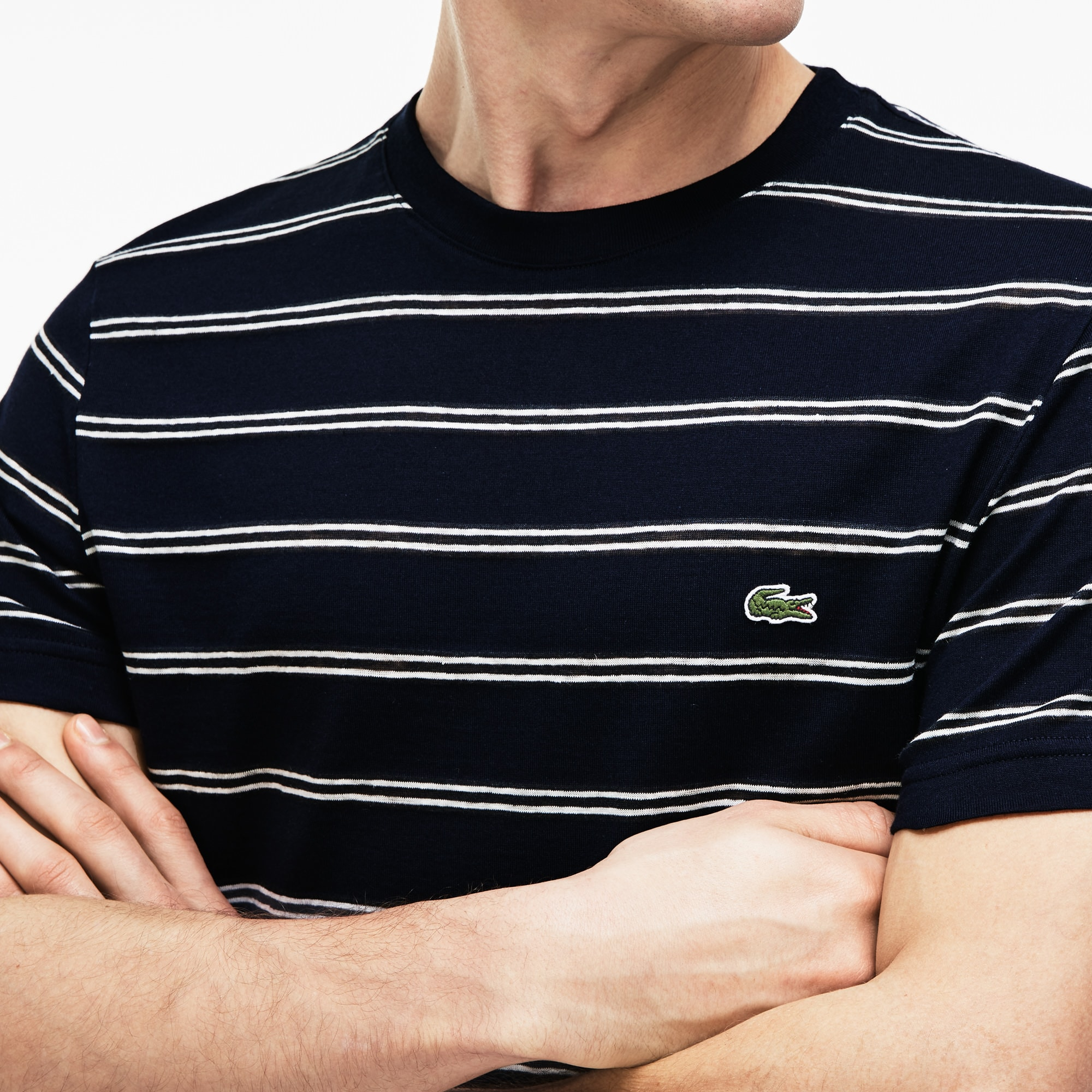 Men's Striped Cotton And Linen T-Shirt