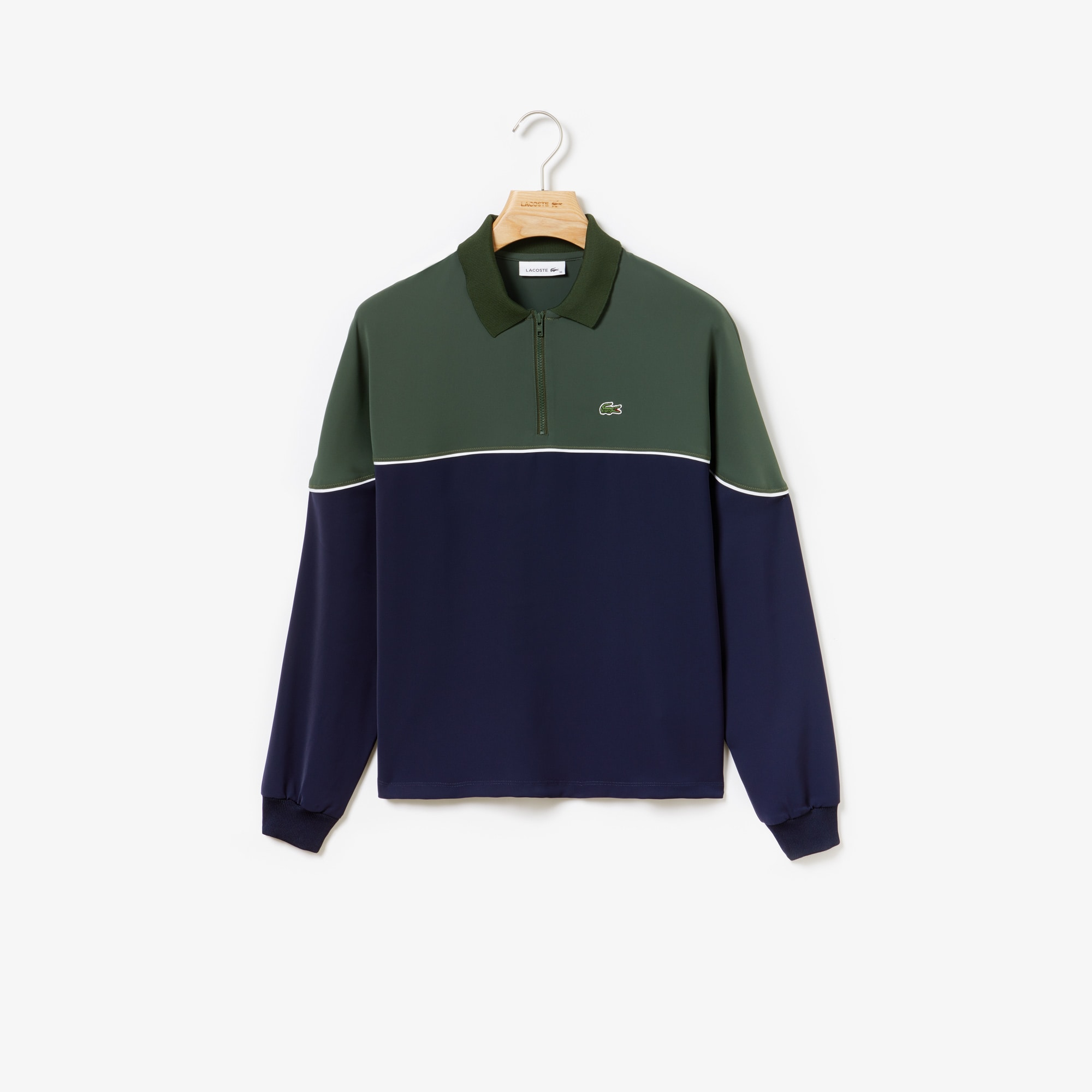 라코스테 Lacoste Womens Relaxed Fit Colorblock Polo,Khaki Green / Navy Blue / White