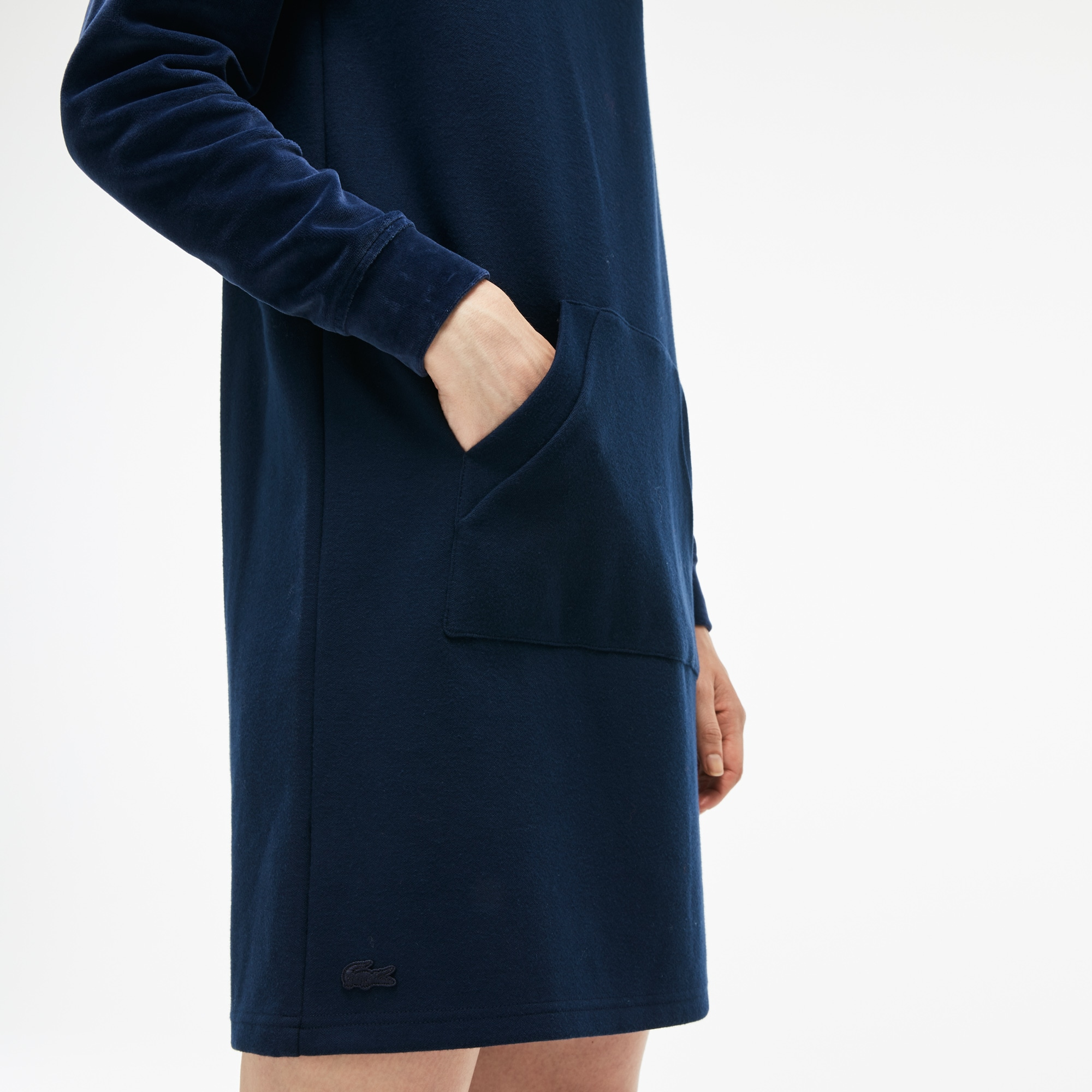 Women's Bimaterial Velour and Terrycloth Jersey Sweatshirt Dress