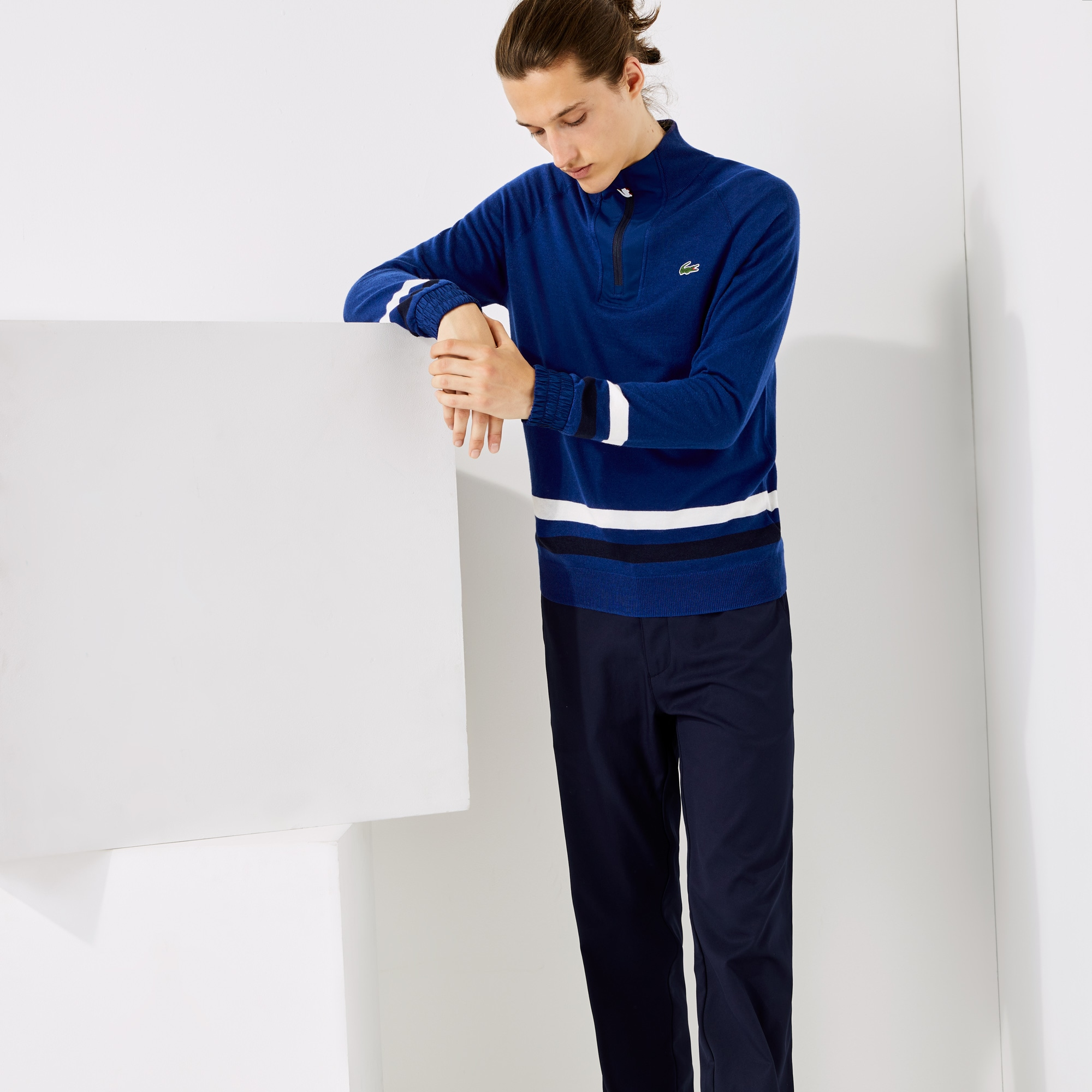 라코스테 스포츠 골프 스웨터 Mens Lacoste SPORT Breathable Wool Golf Sweater,Blue / Navy Blue / White • D9A
