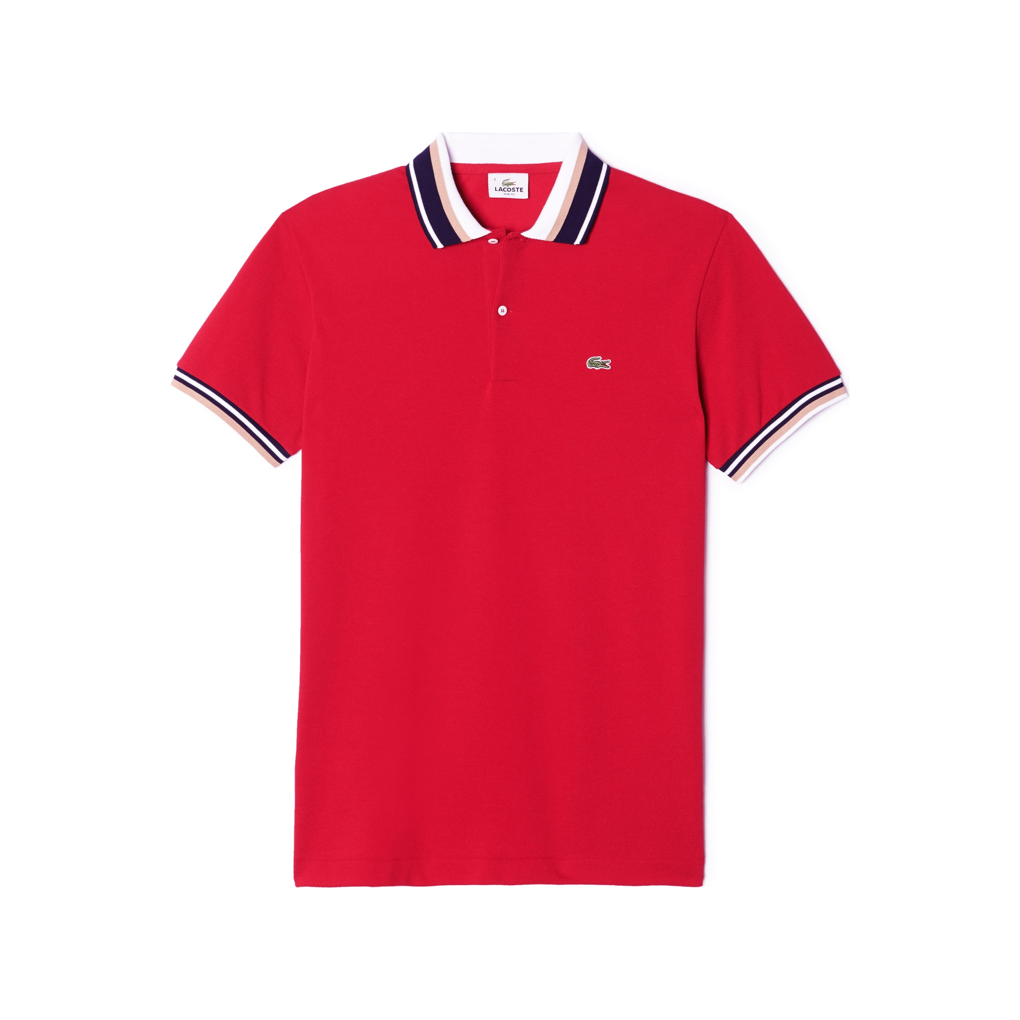 SLIM FIT PIQUE POLO WITH CONTRAST PIPING