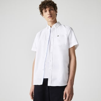 라코스테 레귤러핏 옥스포드 셔츠 Lacoste Mens Regular Fit Oxford Cotton Shirt,White