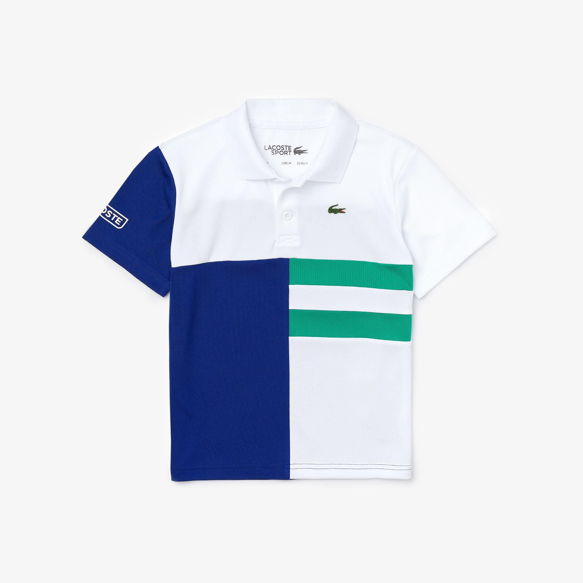 Boys 라코스테 Lacoste SPORT Colourblock Breathable Pique Tennis Polo Shirt,White / Blue / Green / White • HBF