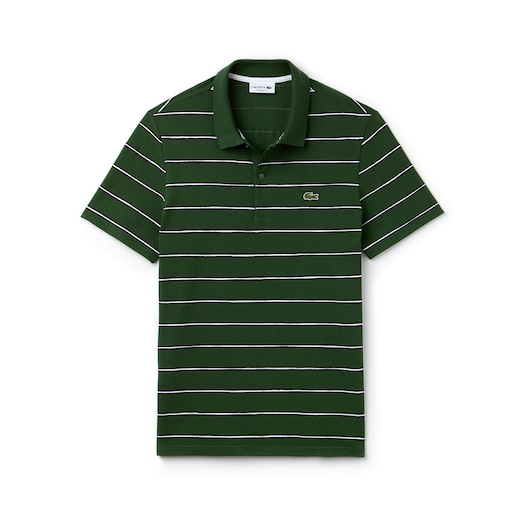 라코스테 Lacoste Mens Regular Fit Striped Mini Pique Polo,Green / Blue / White - WY8 (Selected colour)