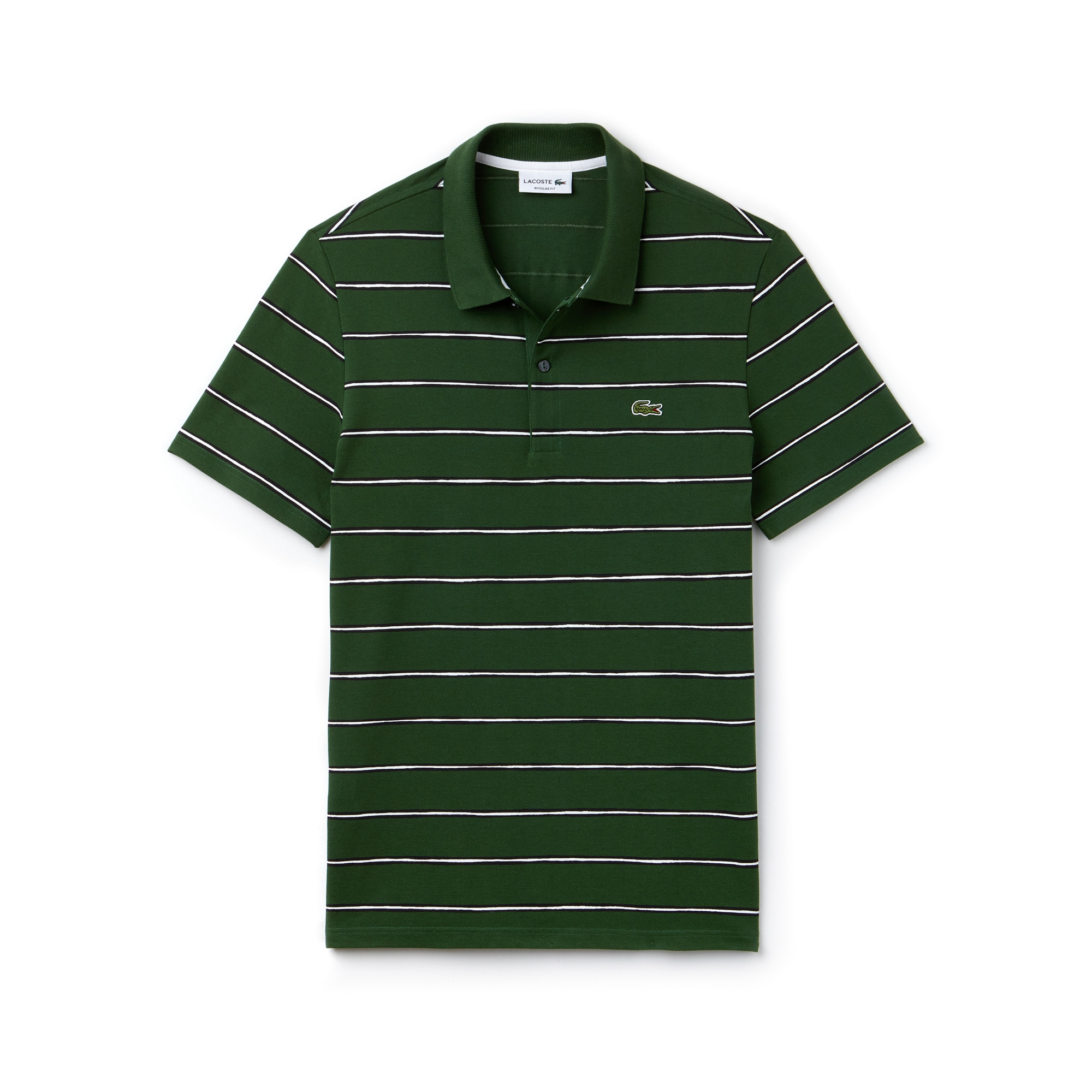 Men's Regular Fit Striped Mini Piqué Polo