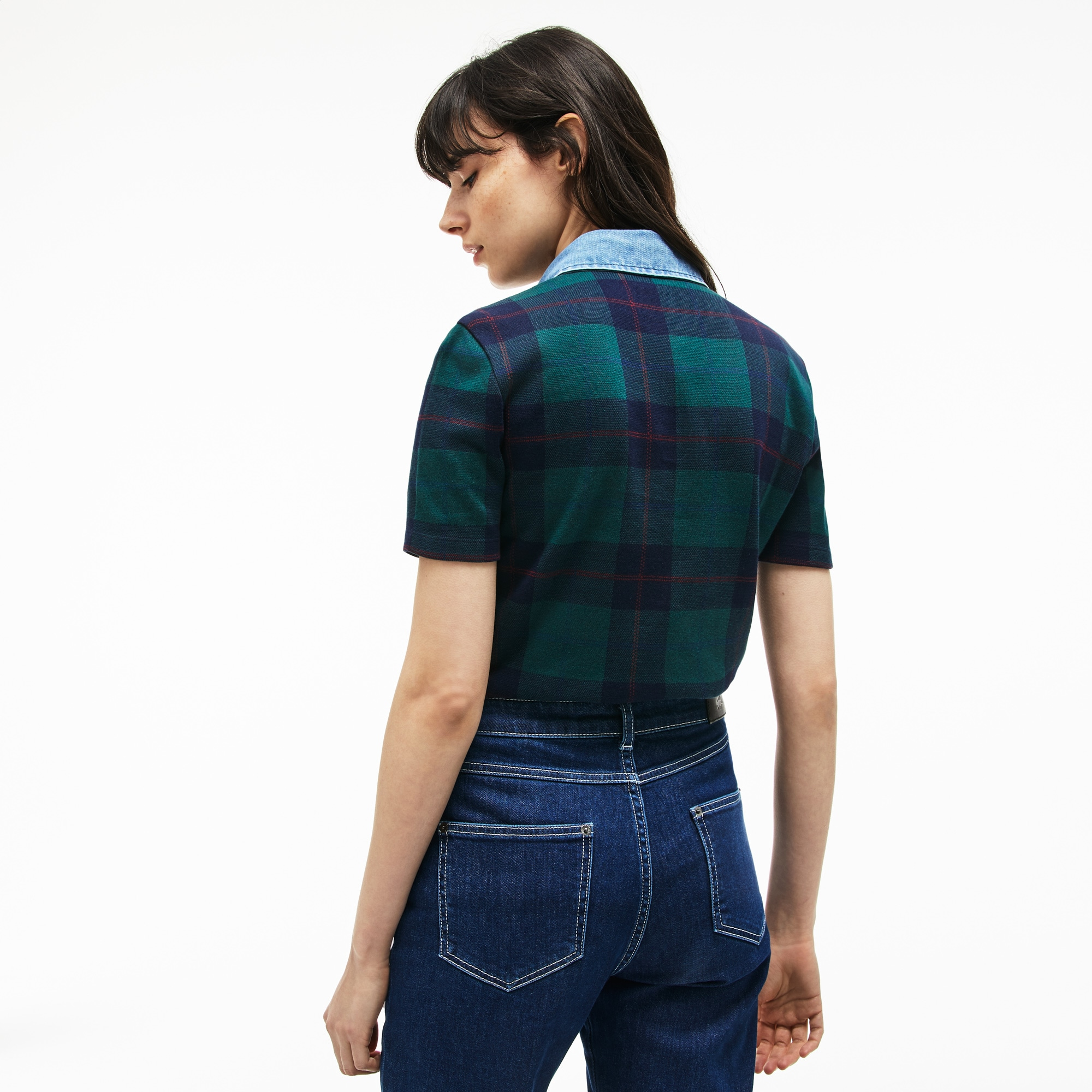 LACOSTE Cottons Women's Tartan Check Cotton Jacquard Polo