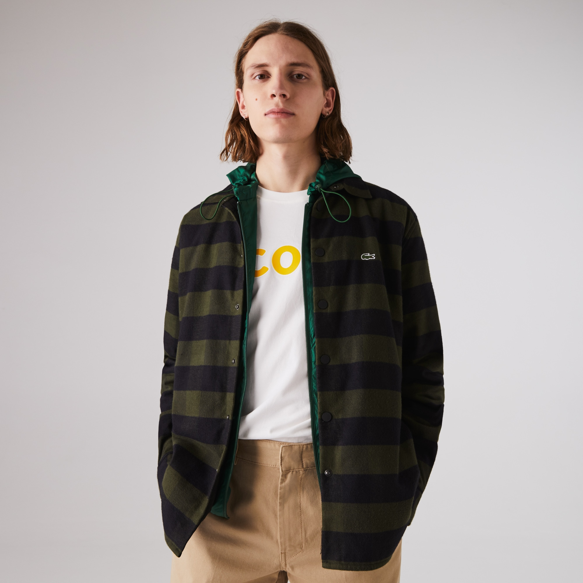라코스테 Lacoste Mens Checked Quilted Cotton Flannel Overshirt,Khaki Green / Black 889