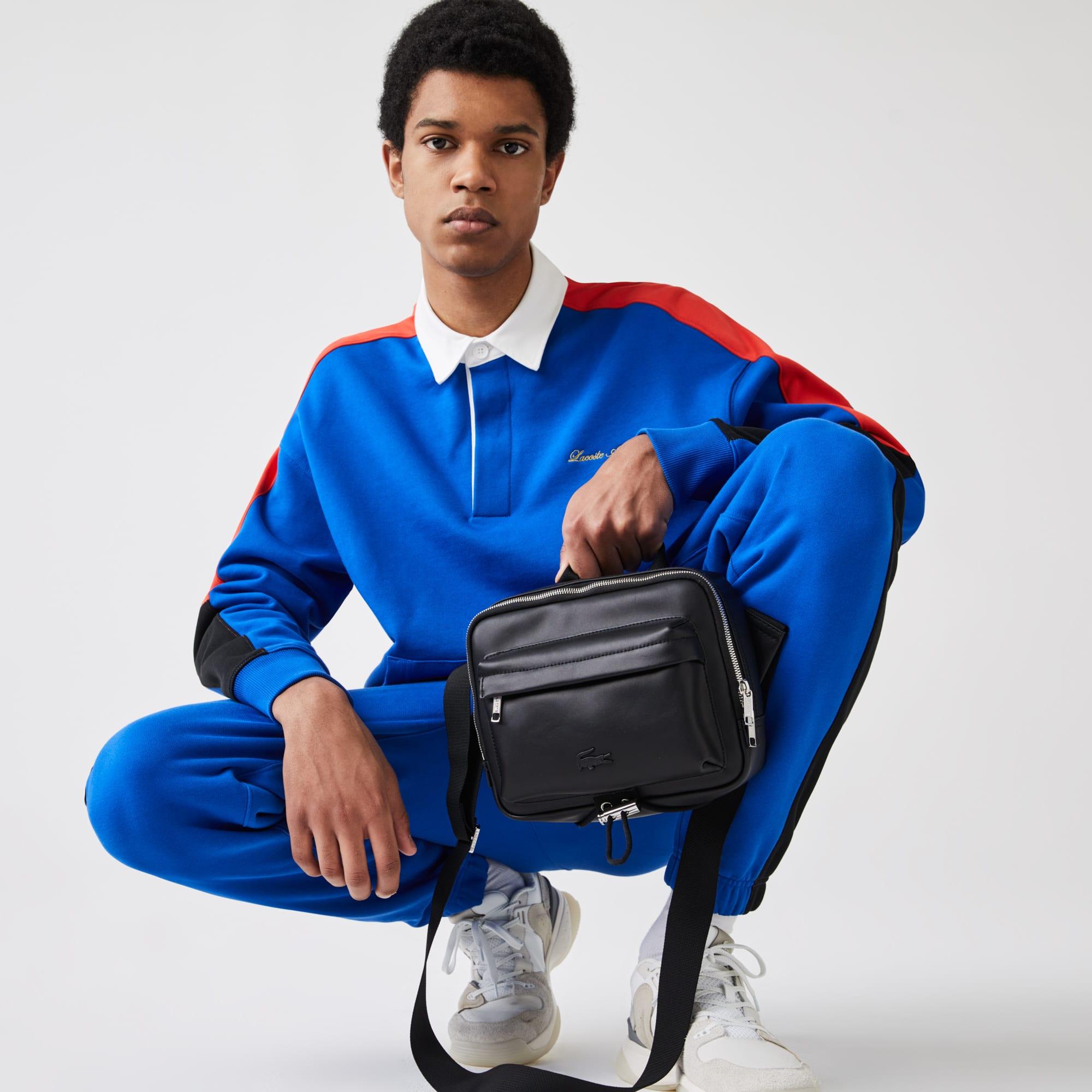 라코스테 Lacoste Men's Urban Breathe Smooth Leather Zip Crossbody Bag,Black 000