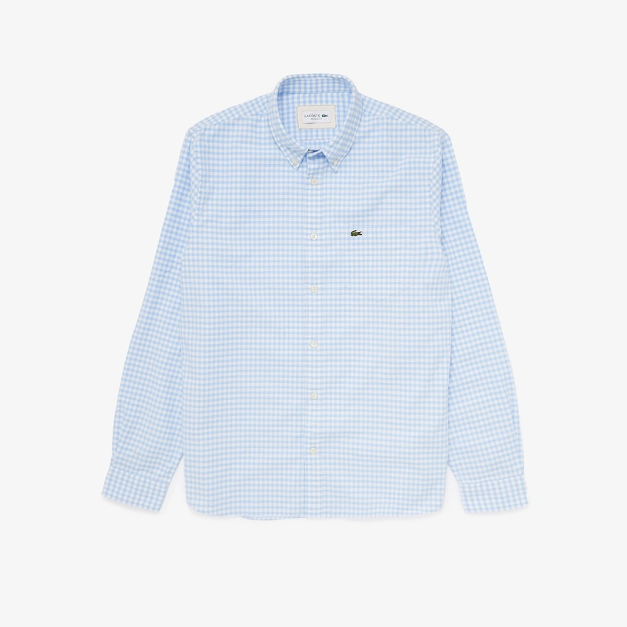 Men's Regular Fit Small Check Oxford Cotton Shirt