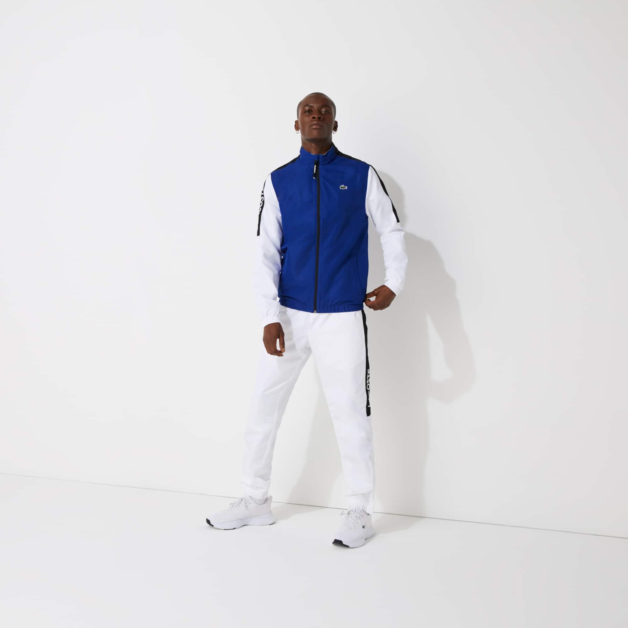 라코스테 Lacoste Men's SPORT Stand-up Neck Colorblock Tracksuit,Blue / White / Black - PWG