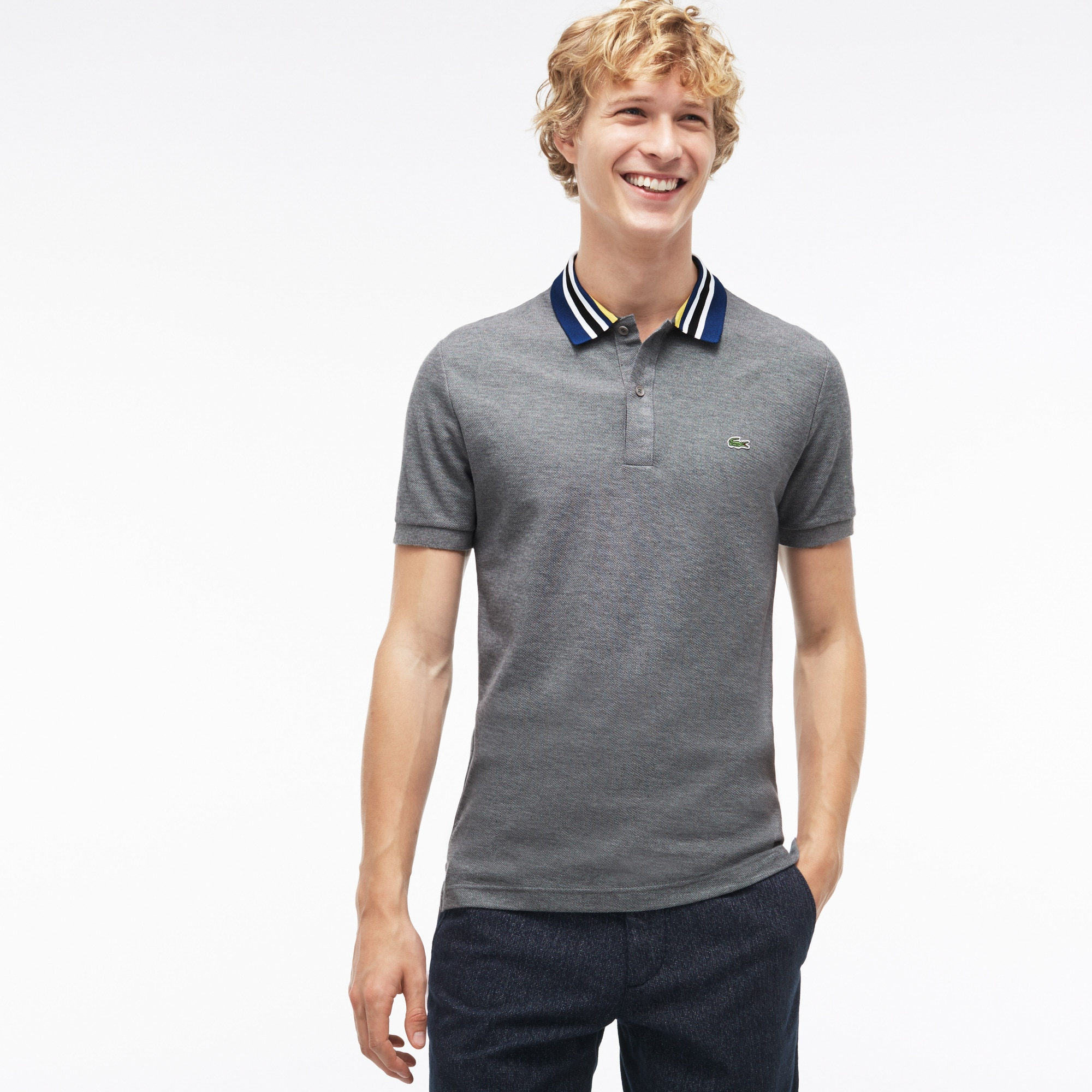 Men's  Slim Fit Cotton Piqué Polo With Piped Collar