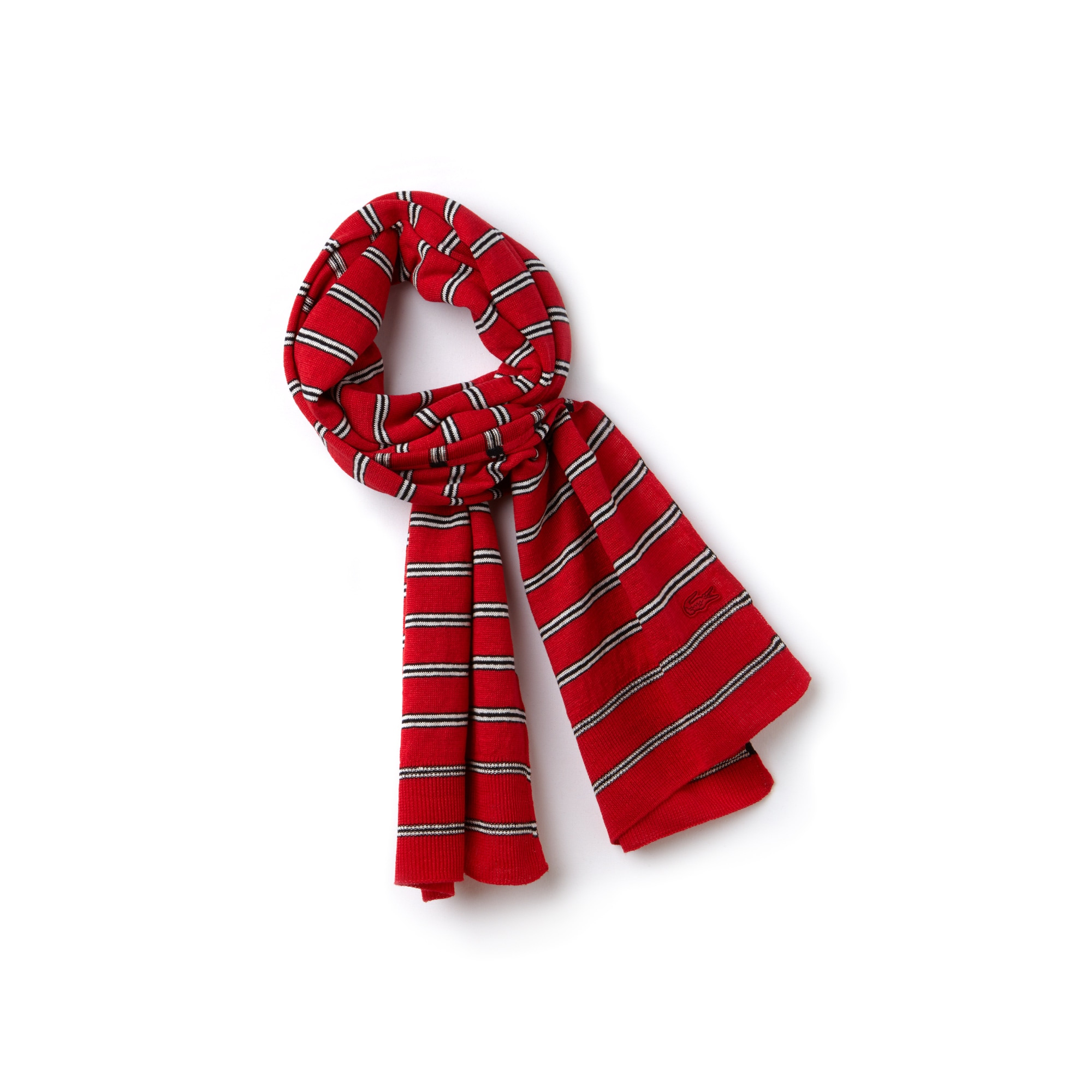 Women's Striped Cotton And Linen Scarf
