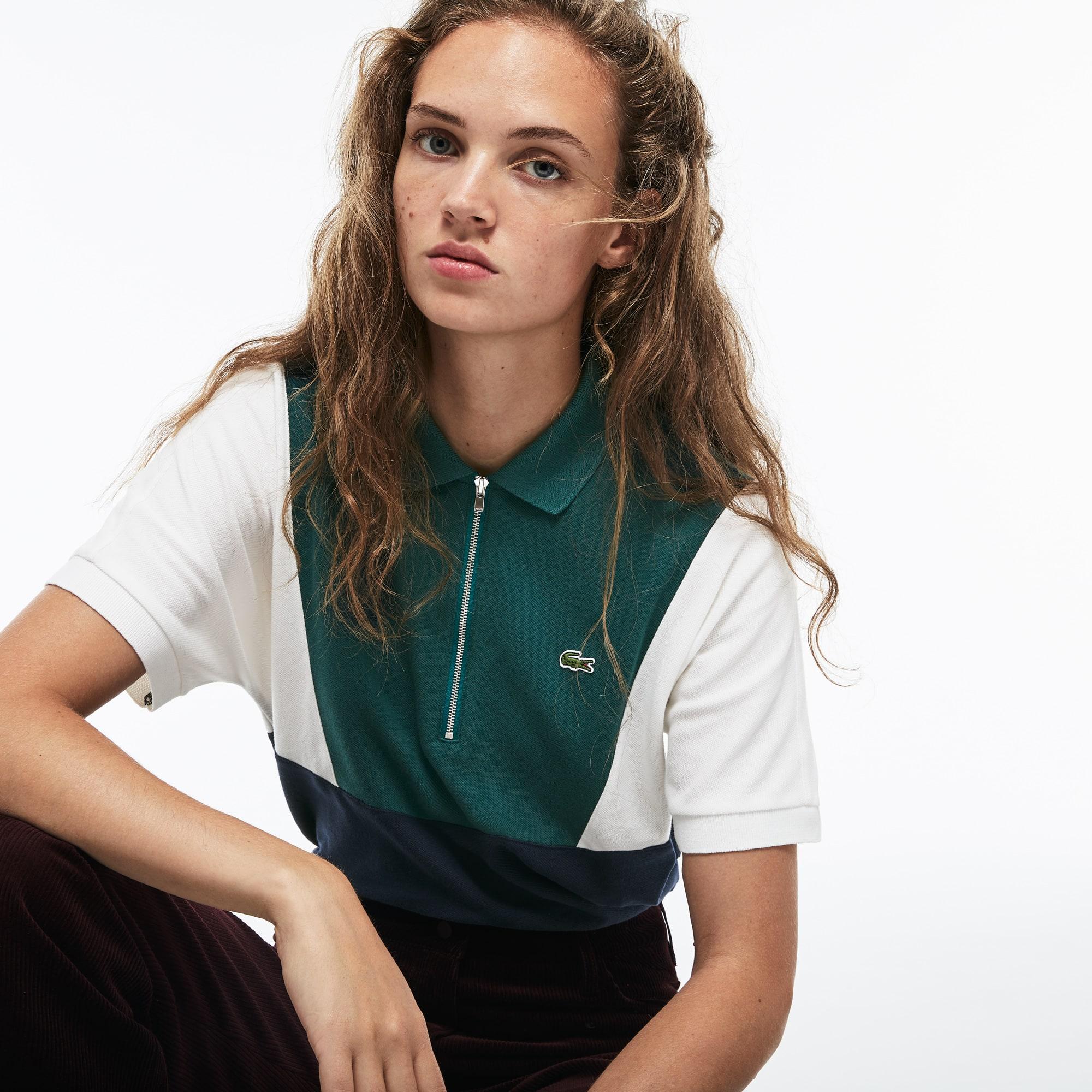 Women's Zip Neck Colorblock Terrycloth Piqué Polo