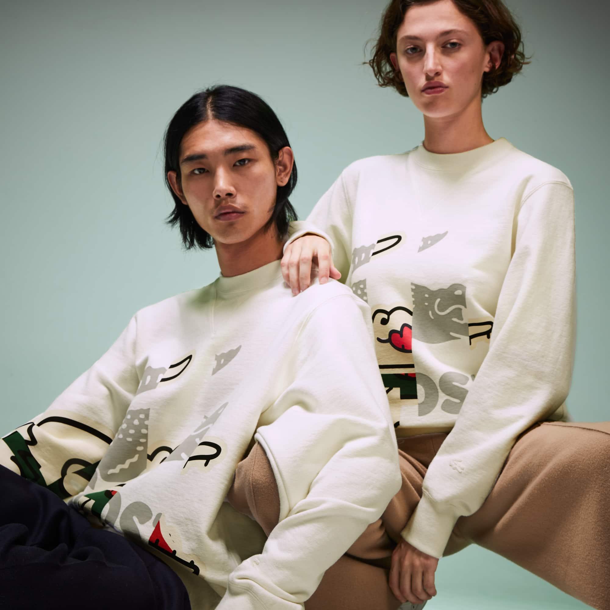 Lacoste Tops Unisex Fashion Show Crocodile Printed Sweatshirt