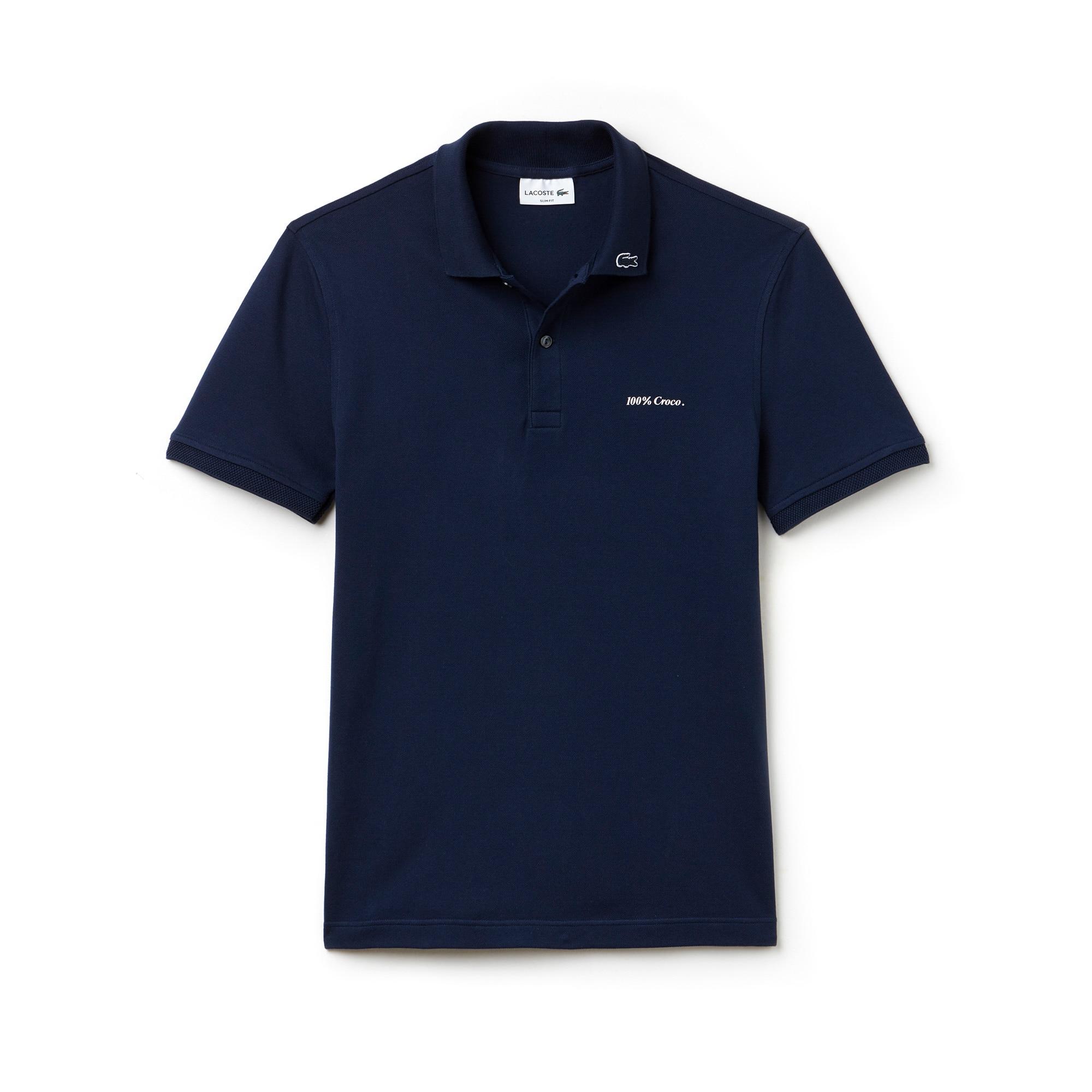 "Men's Slim Fit Stretch Petit Piqué ""100% Croco"" Polo Shirt"