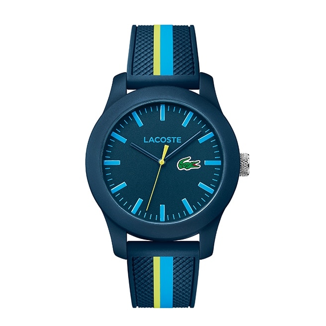 Men's Lacoste 12.12 Blue Stripe Silicon Strap