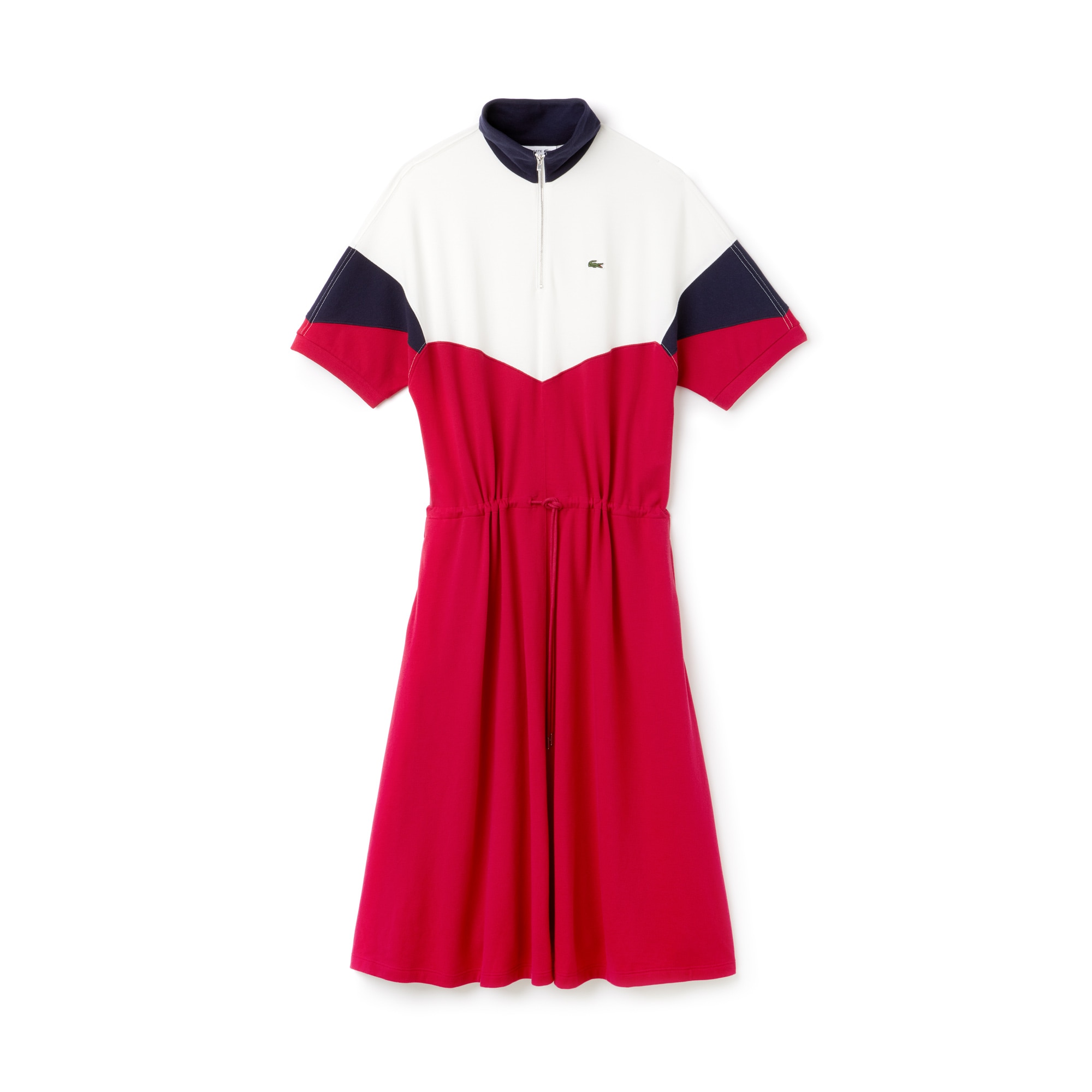 라코스테 원피스 Lacoste Womens Fitted Colorblock Terrycloth Pique Polo Dress,PERSIAN RED/NAVY BLUE-FLO