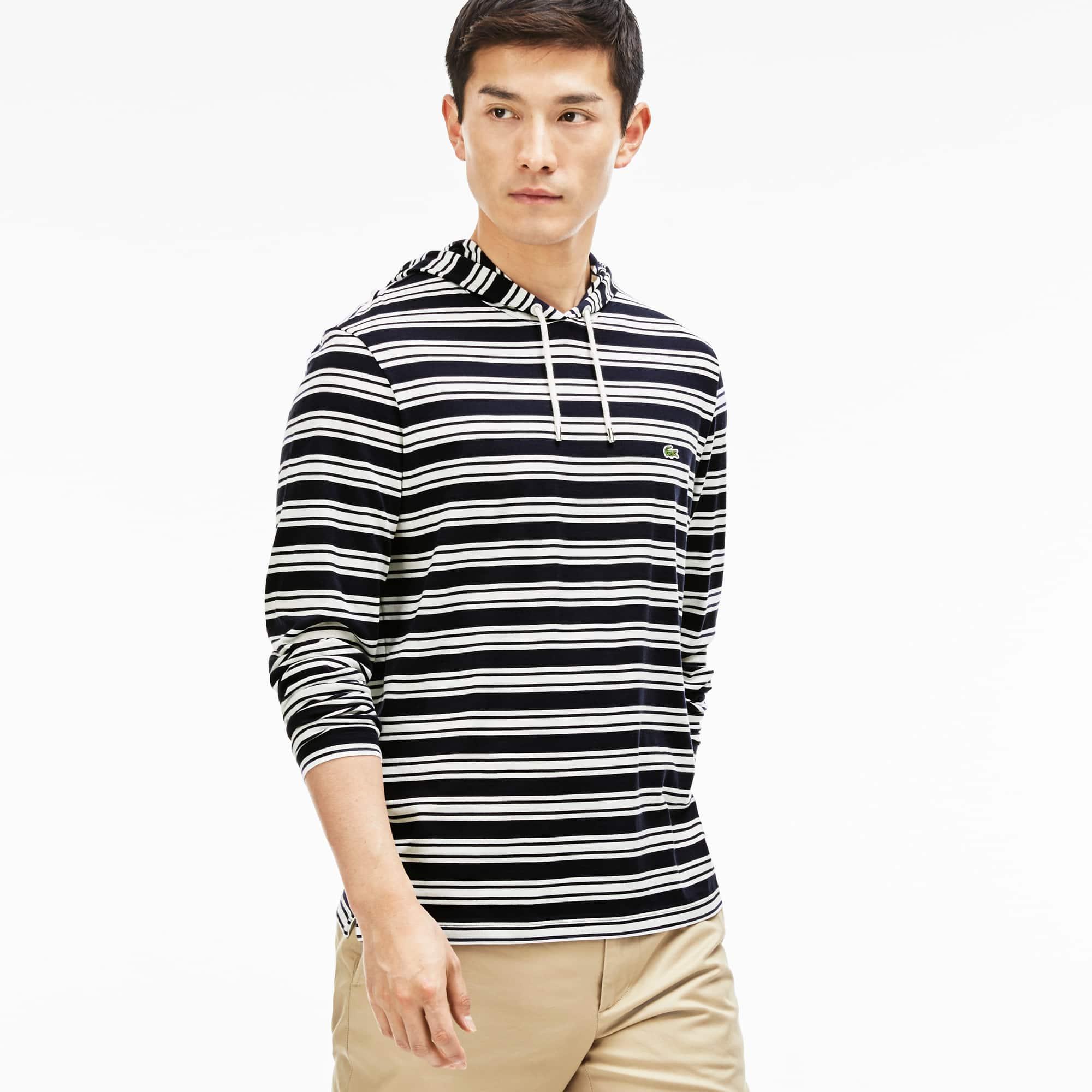 Men's Stripe Hoodie T-Shirt